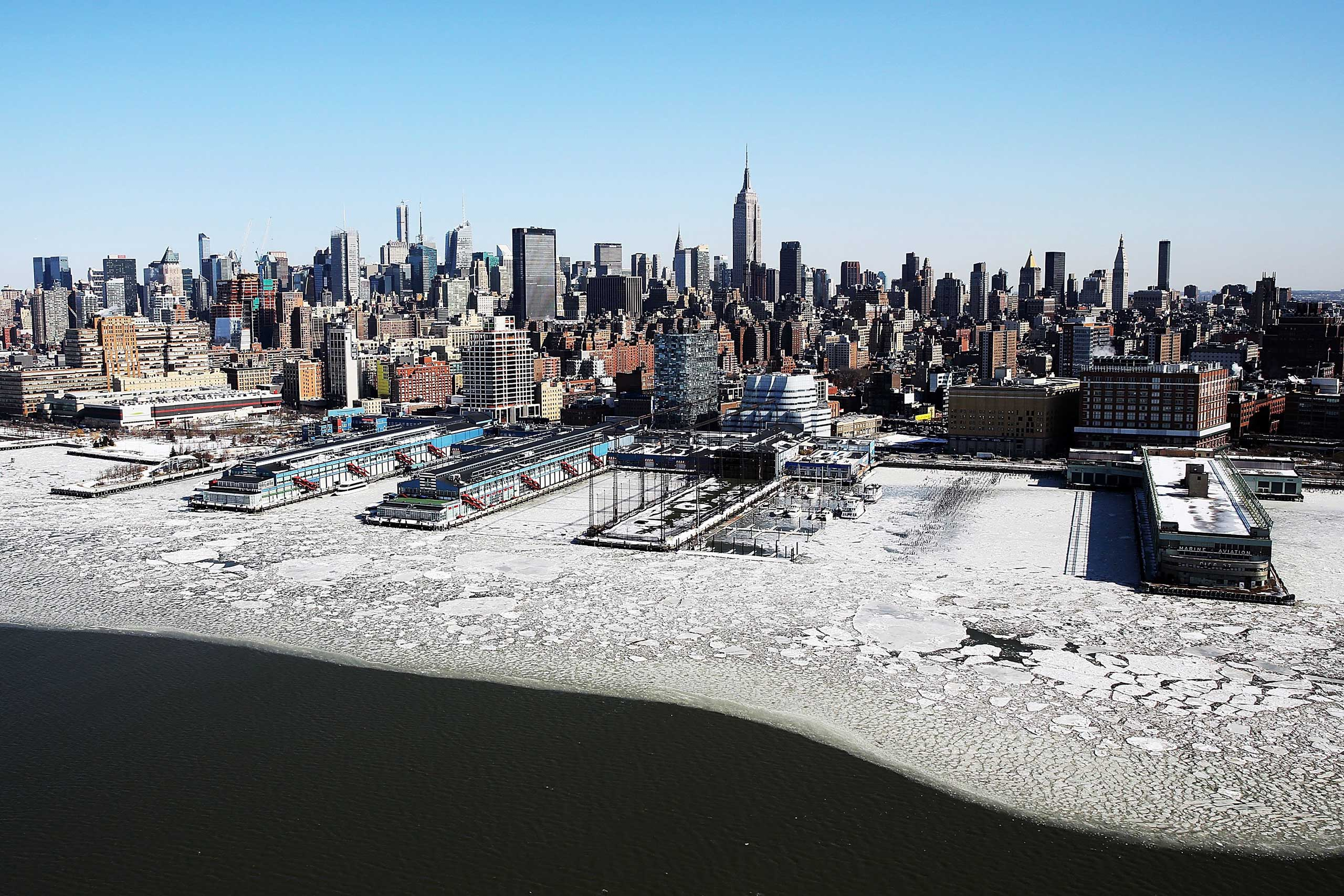 Ice flows along the Hudson River on Feb. 20, 2015 in New York City.