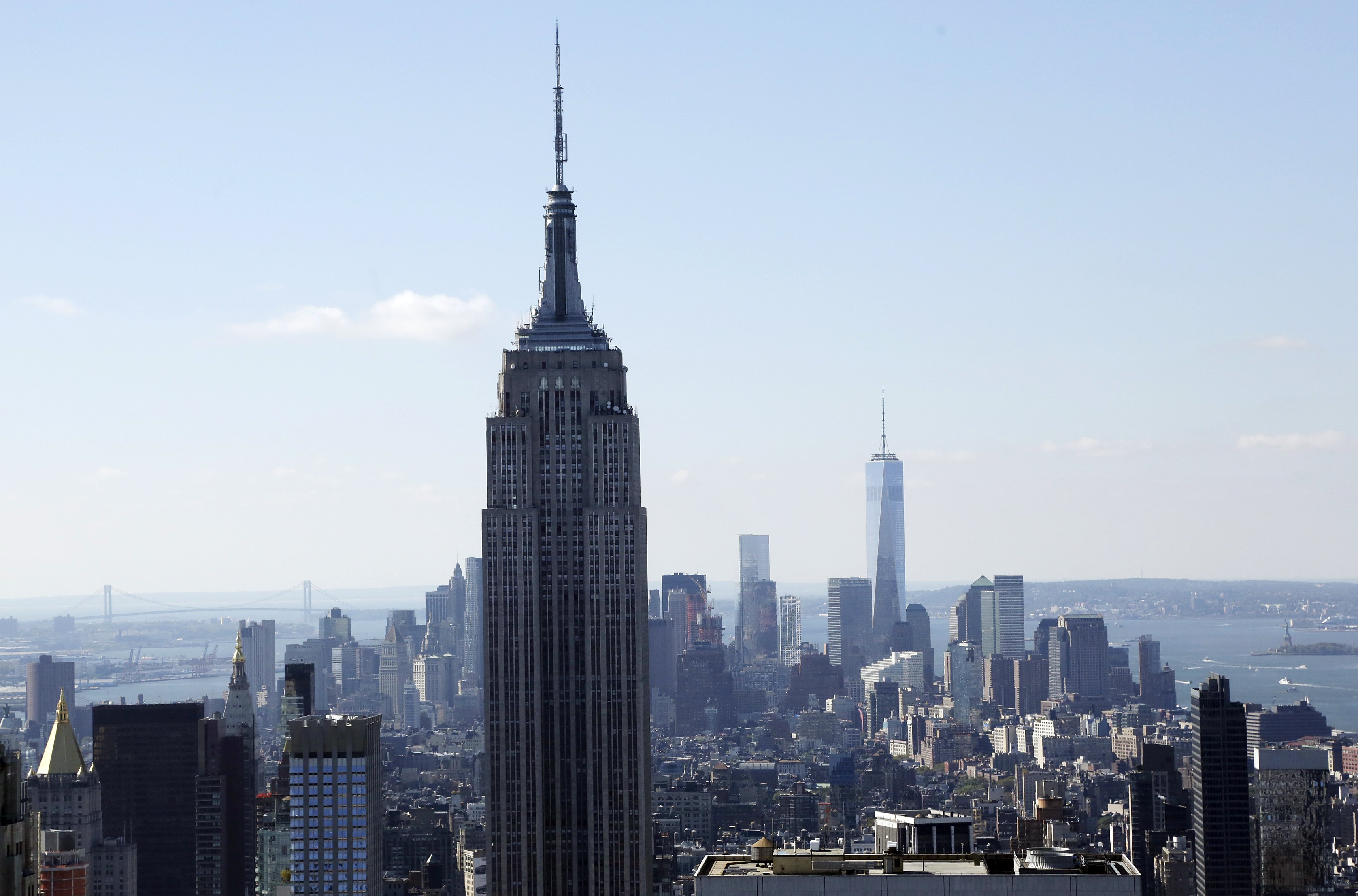 The Empire State Building and the Manhattan skyline on Oct. 5, 2014.