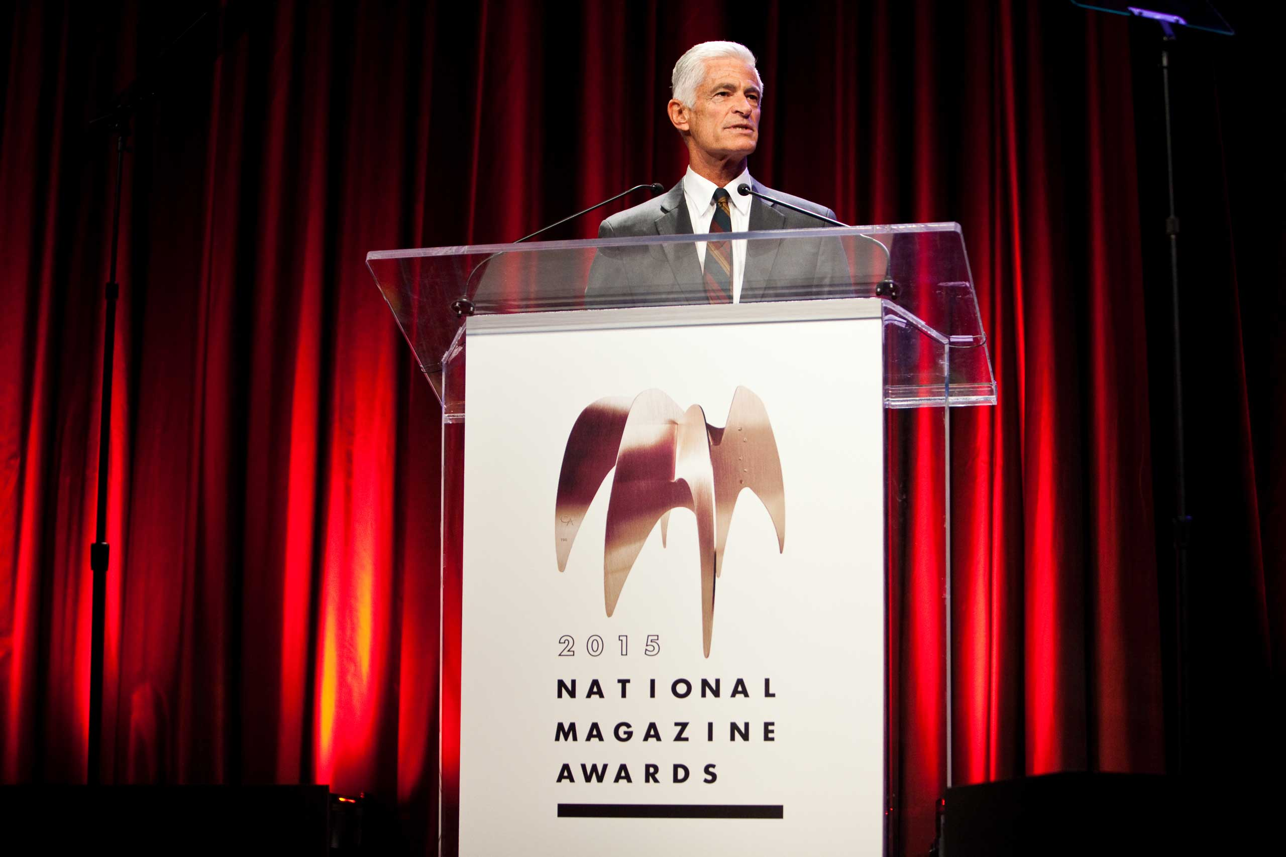 James Nachtwey receives the Creative Excellence Award at the American Society of Magazine Editors' National Magazine Award on Feb. 2, 2015