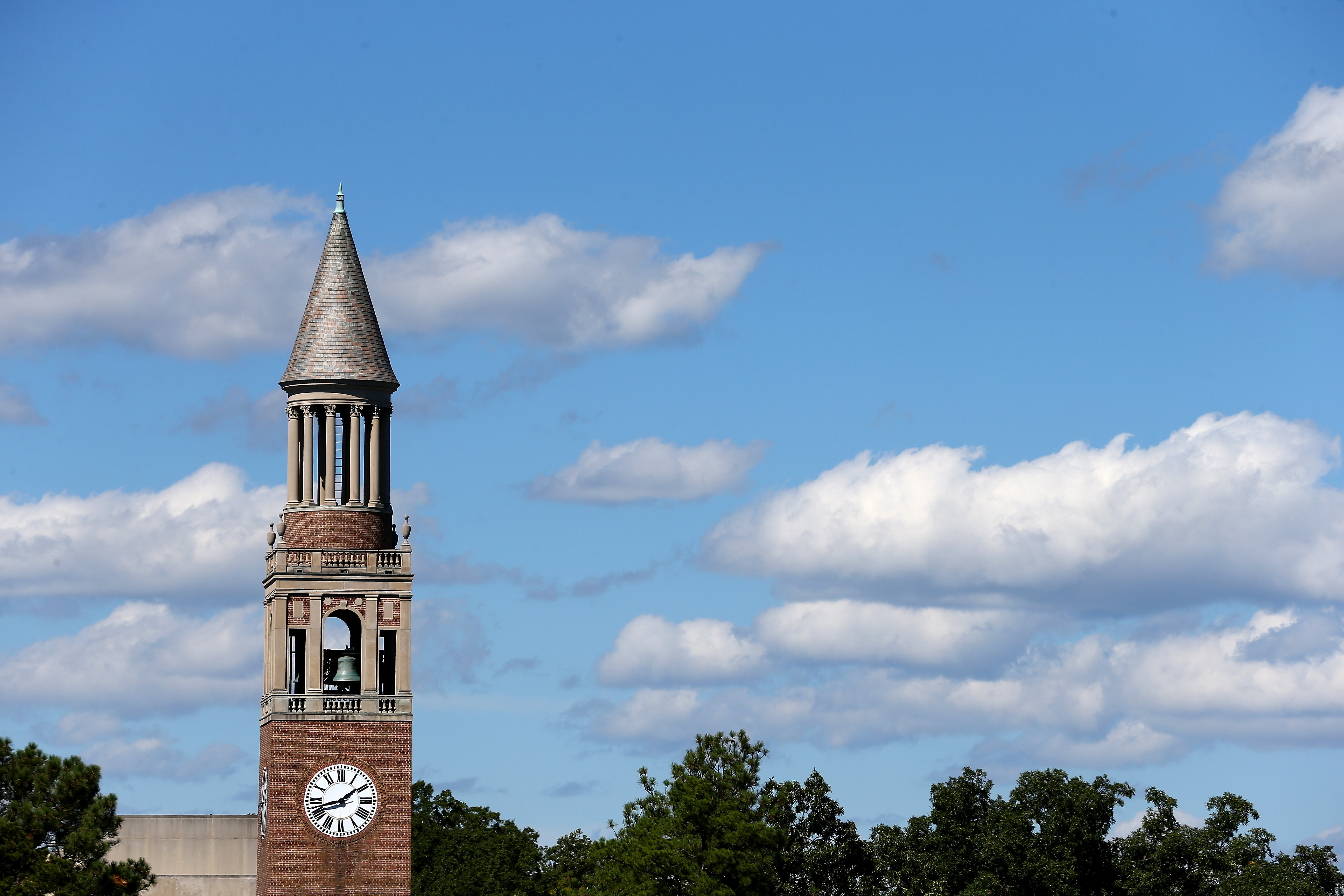 A general view of the Bell Tower on the campus of the North Carolina Tar Heels before their game against the Virginia Tech Hokies at Kenan Stadium on Oct. 4, 2014 in Chapel Hill, N.C.