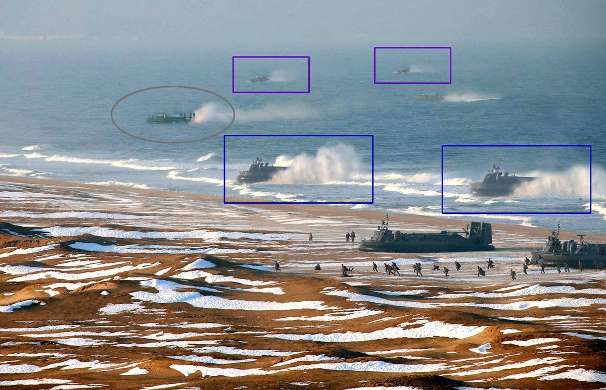 """This <a href=""""http://www.theatlantic.com/photo/2013/03/is-this-north-korean-hovercraft-landing-photo-faked/100480/"""" target=""""_blank"""">photograph</a> shows the various hovercrafts that were replicated."""