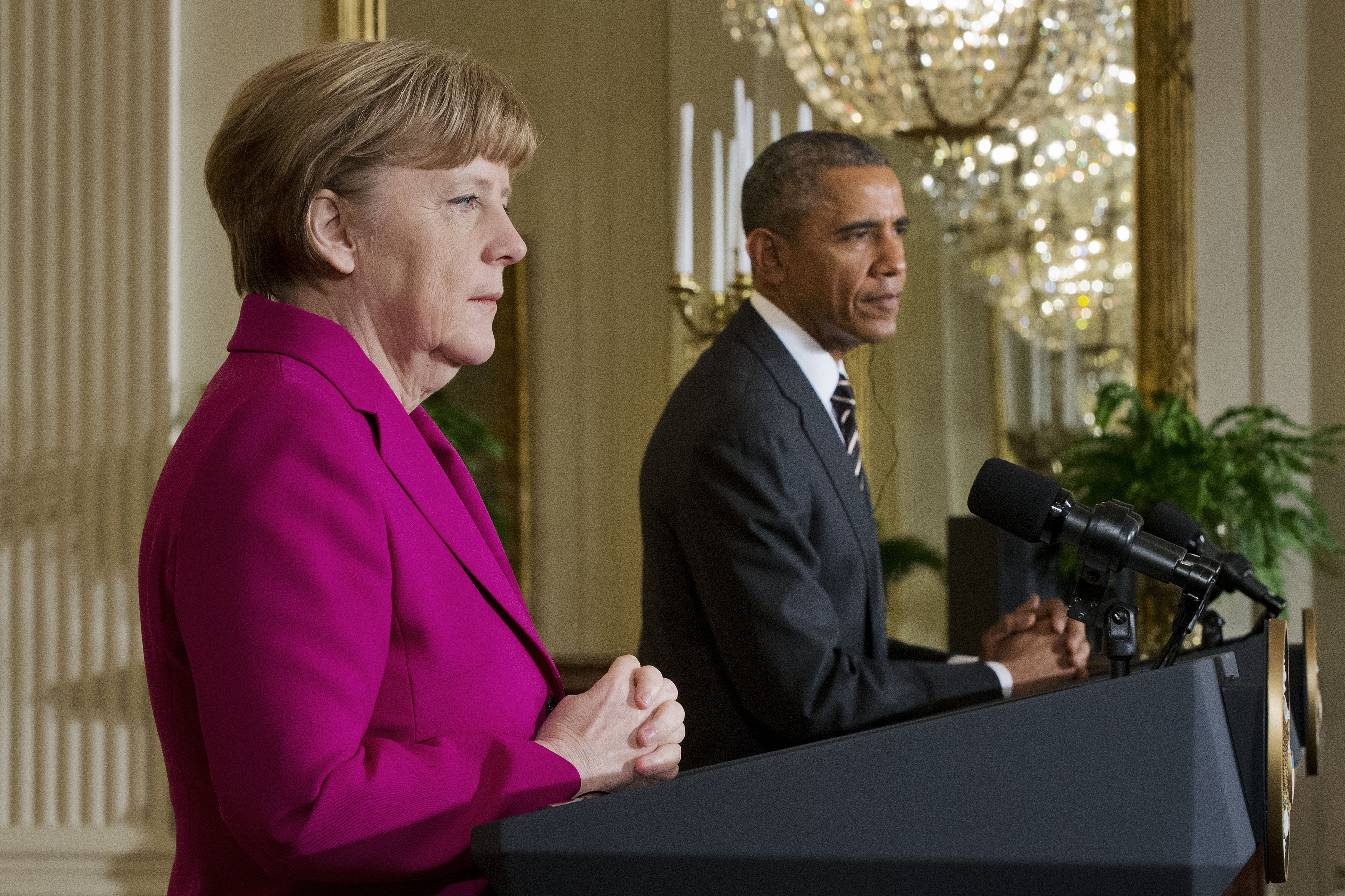 U.S. President Barack Obama and German Chancellor Angela Merkel during their joint news conference in the East Room of the White House in Washington on Feb. 9, 2015