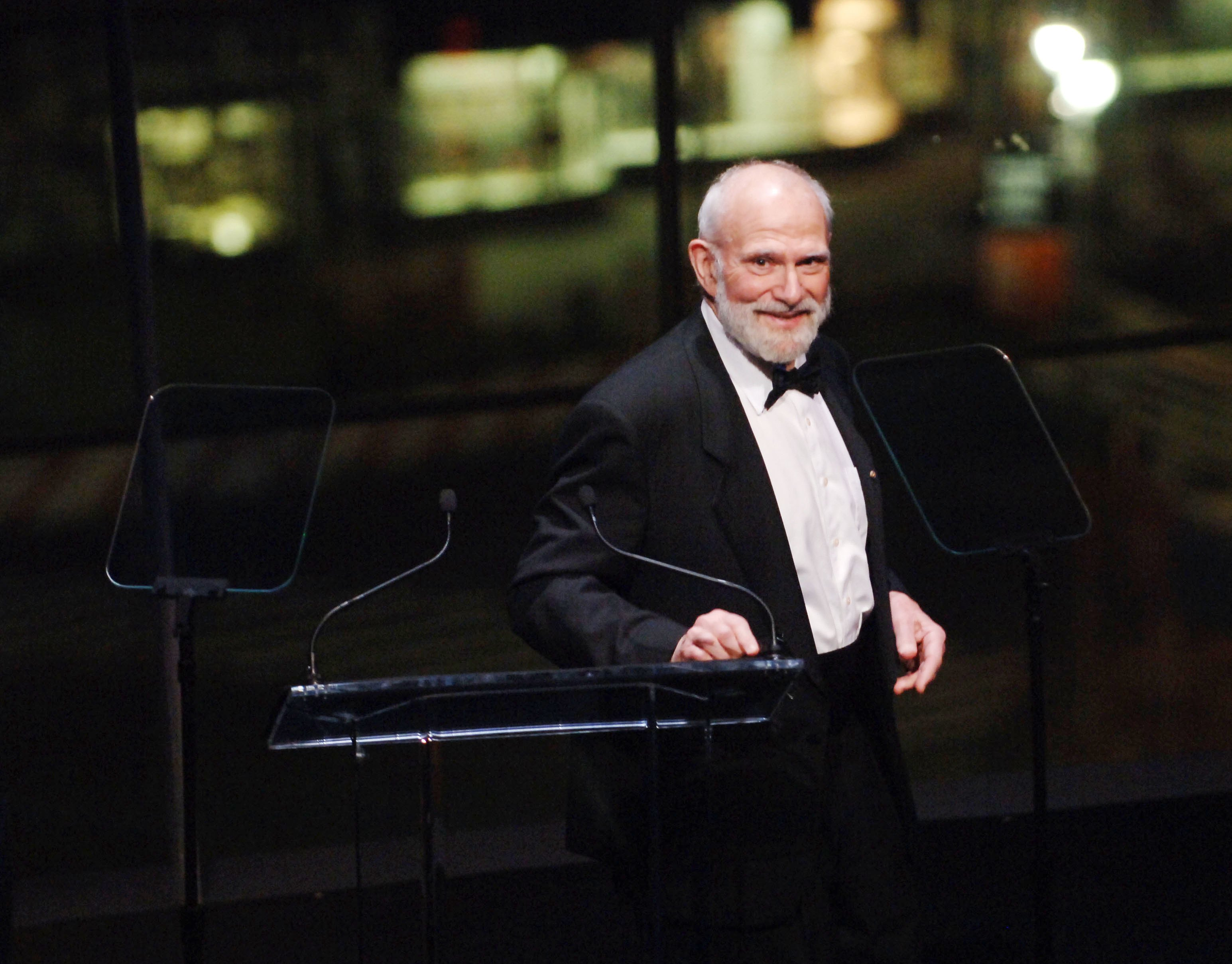 Dr. Oliver Sacks speaks at the Music Has Power Awards Benefit in the Allen Room at the Frederick P. Rose Hall, Home of Jazz at Lincoln Center on Nov. 6, 2006 in New York City.