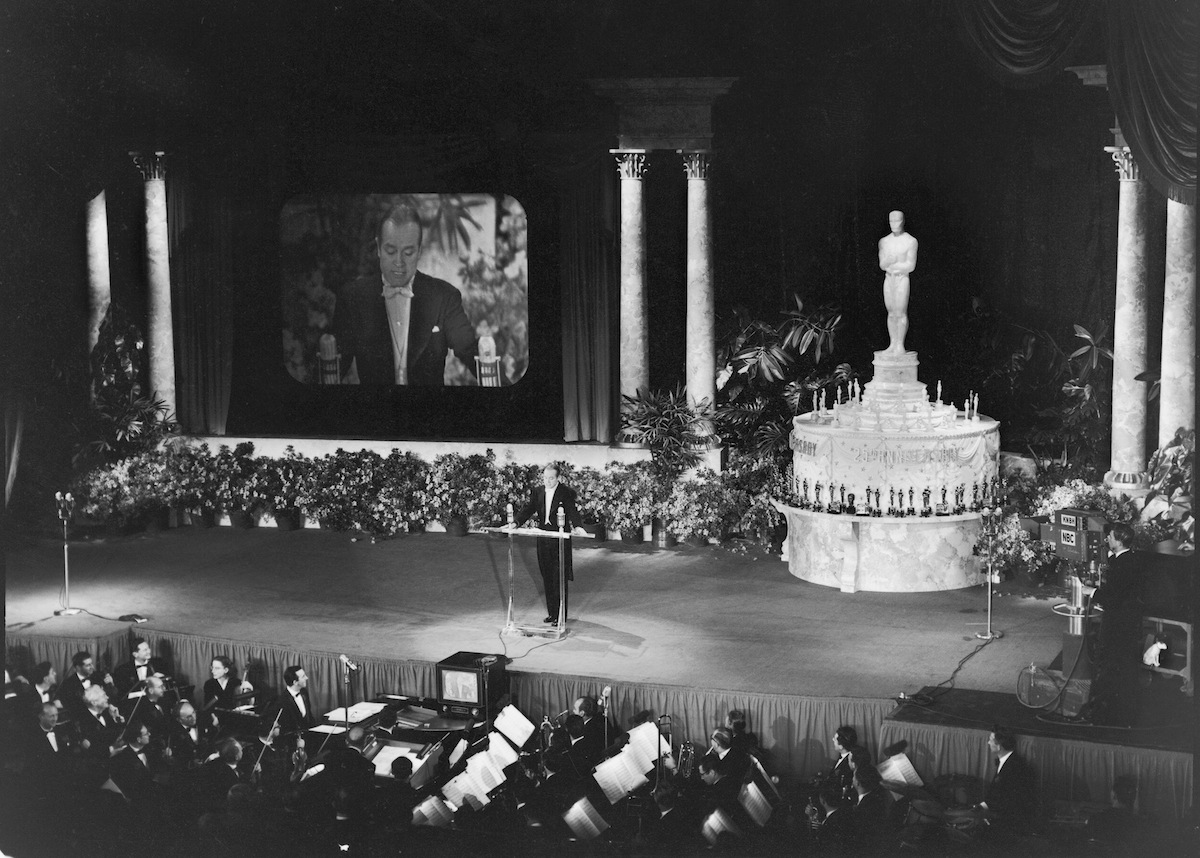 Bob Hope (1903 - 2003) hosts the 25th Annual Academy Awards, the first televised presentation of the annual award ceremony, Hollywood, California, Mar. 19, 1953.