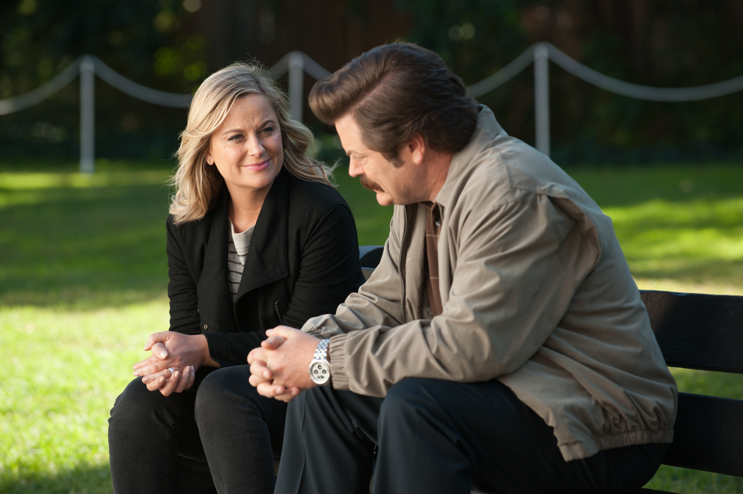 Amy Poehler as Leslie Knope and Nick Offerman as Ron Swanson.