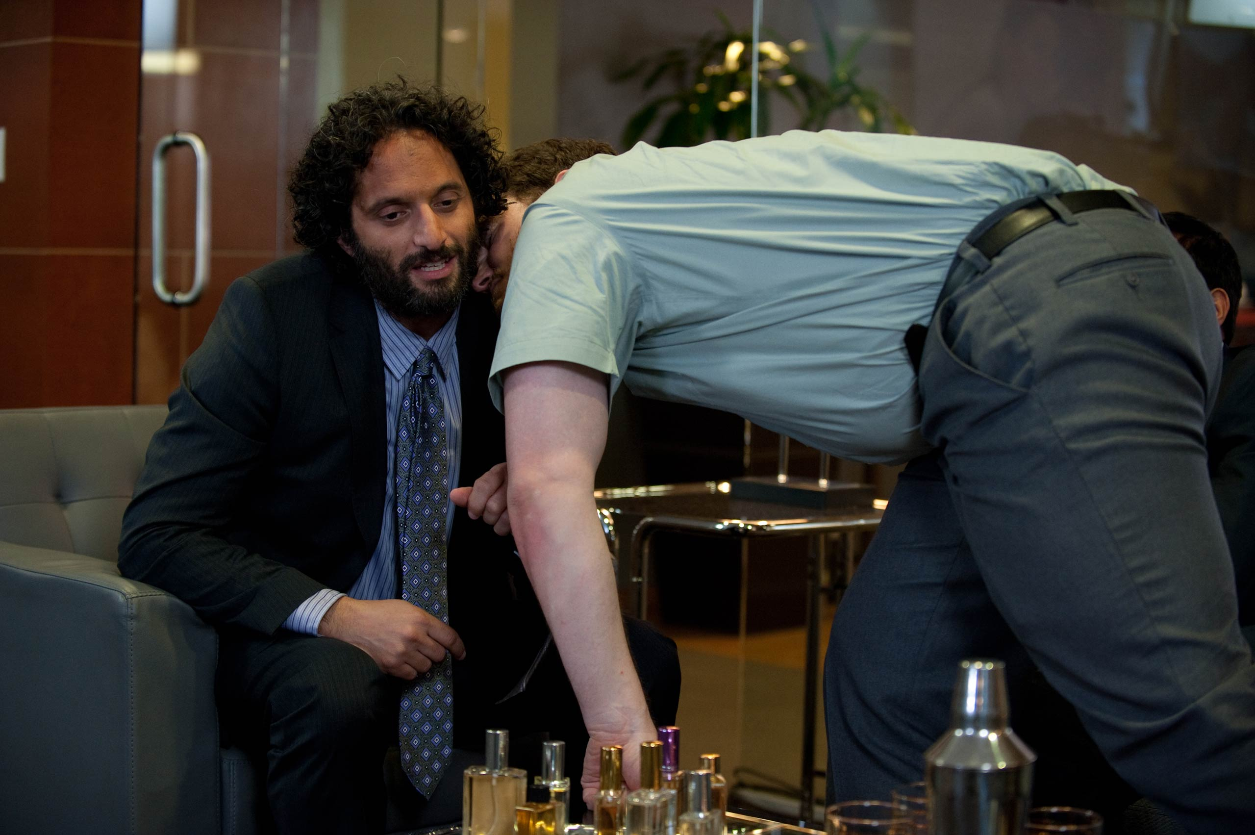 <strong>Jason Mantzoukas, left, as Dennis Feinstein</strong>