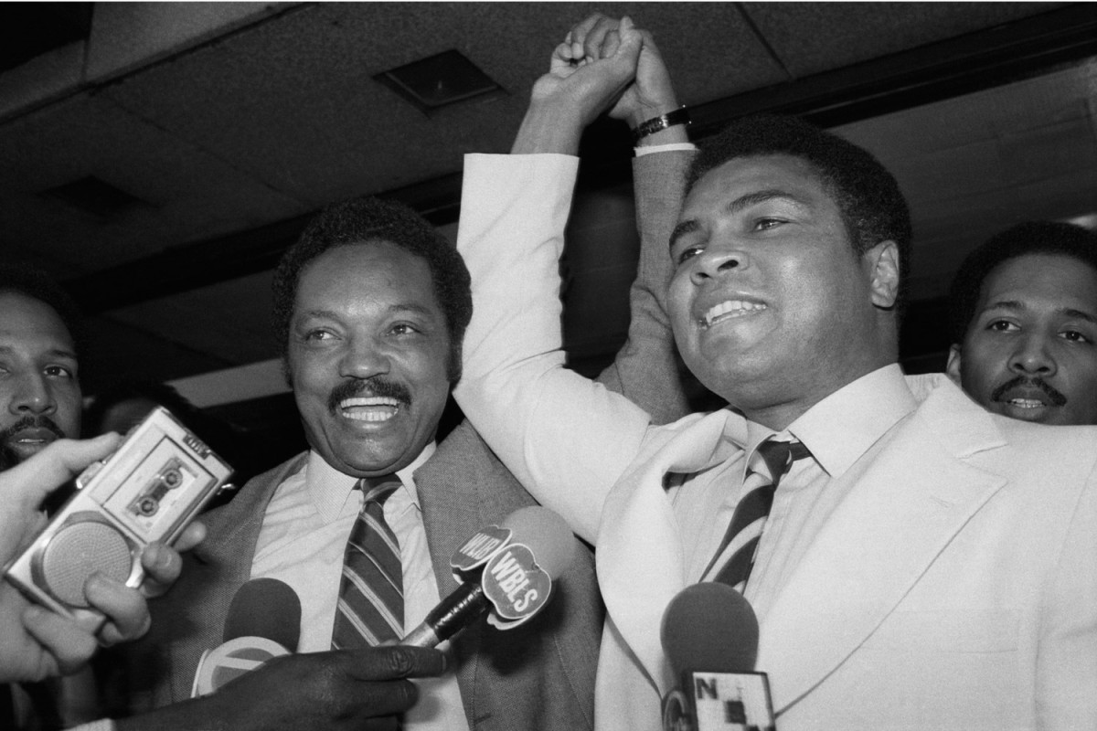 """The Rev. Jesse Jackson and Ali in New York City, 1978                               The Rev. Jesse Jackson:  """"Ali is a champion but moreover a hero. I met him with Dr. King – Ali declared himself to be champion and proved it by knocking out his opponents. But champions stand on the people's shoulders. They are fairly common. He was a hero because he was a social transformer. People stand on heroes' shoulders. Ali used the platform of the ring to make real his religion and apply a principle with great sacrifice to his career and resources: to end the war. Muhammad Ali is a noble human being, one of the finest our culture has ever produced. Happy birthday, Ali.""""                               The Rev. Jesse Jackson is a civil rights activist and Baptist minister."""