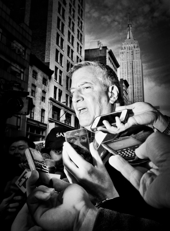 New York City Mayor Bill Deblasio talks to reporters on Veterans Day, 2013.