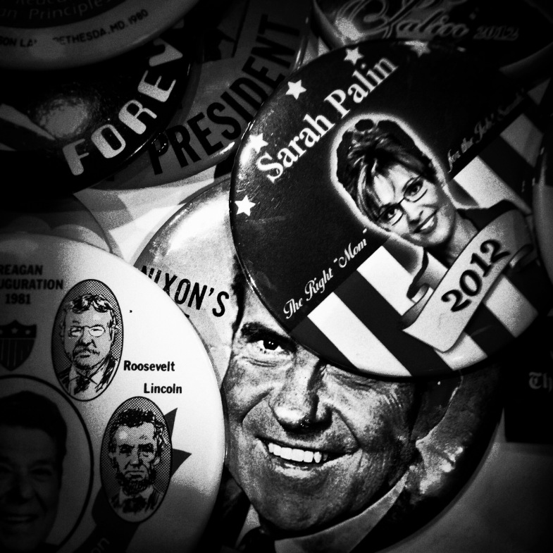 Buttons on display on the third and final day of CPAC on Mar. 9, 2014.