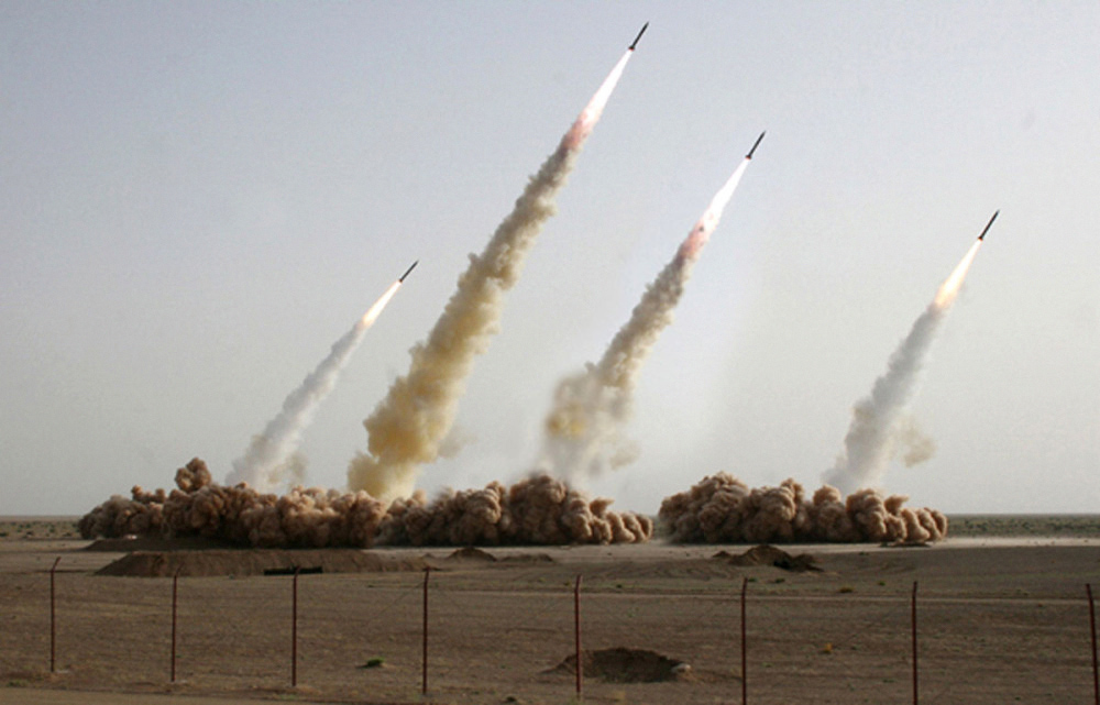 """In this digitally altered <a href=""""http://thelede.blogs.nytimes.com/2008/07/10/in-an-iranian-image-a-missile-too-many/"""" target=""""_blank"""">handout picture</a> released by the public relations arm of Iran's Revolutionary Guards, Sepah News, a fourth missile (second from the right) has been added to cover a grounded missile that failed during the test."""
