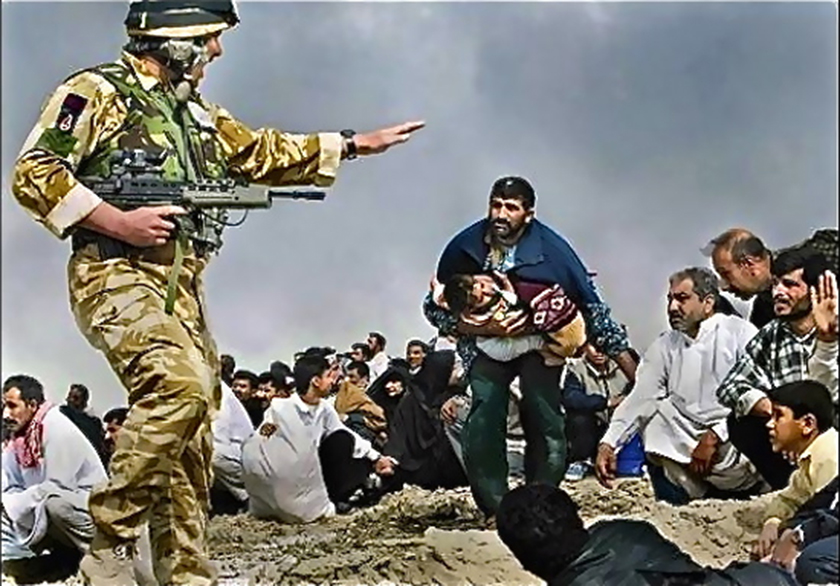 """In March 2003, Los Angeles Times photographer Brian Walski <a href=""""http://www.washingtonpost.com/wp-srv/photo/essays/vanRiper/030409.htm"""" target=""""_blank"""">combined</a> two photos of a British soldier gesturing at Iraqi civilians to create this image."""