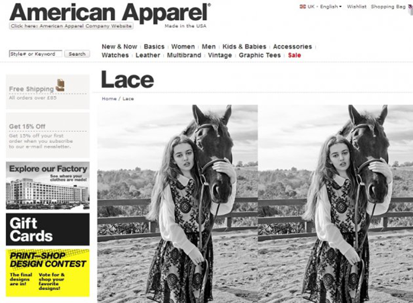 """An American Apparel <a href=""""http://www.huffingtonpost.com/2012/10/05/american-apparel-photoshop-fail-disaster_n_1943029.html"""" target=""""_blank"""">advertisement</a> shows the head of a horse with no body."""