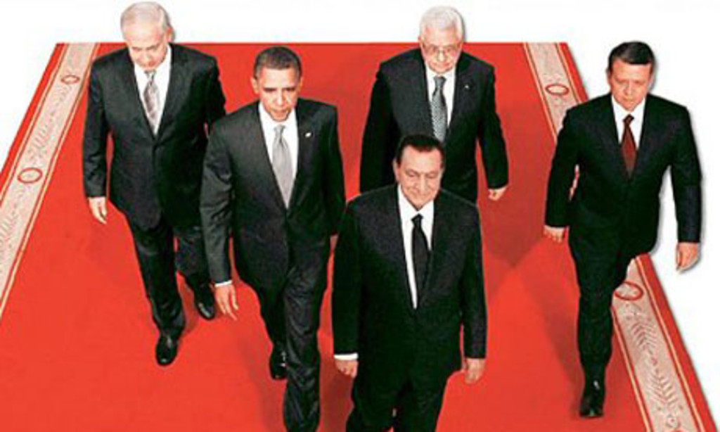"""Al-Ahram's <a href=""""http://www.theguardian.com/world/2010/sep/17/al-ahram-newspaper-doctored-photo-hosni-mubarak"""" target=""""_blank"""">doctored</a> image of Egyptian president Hosni Mubarak and other leaders at the Middle East peace talks in Washington, D.C."""