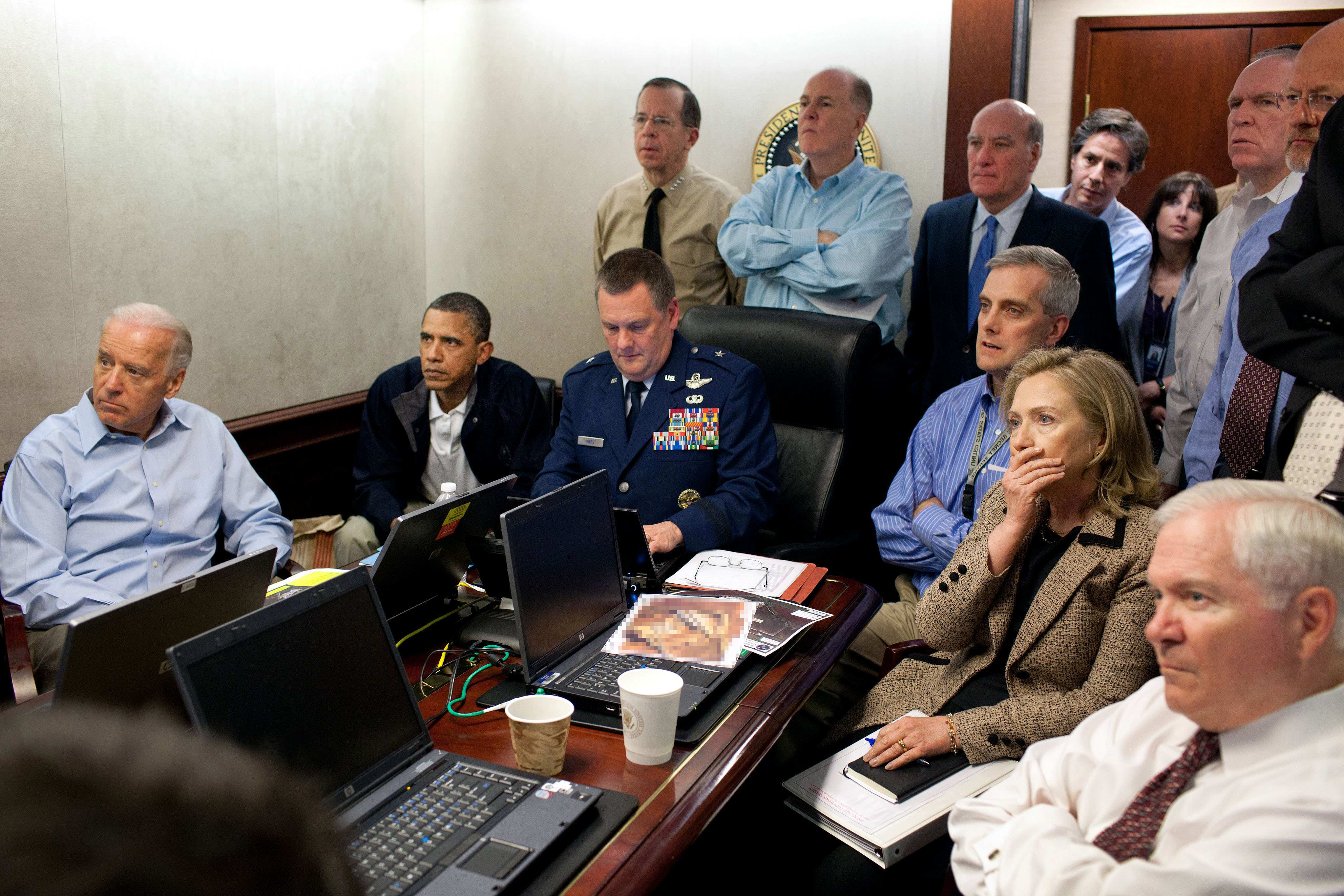 """President Barack Obama, Secretary of State <a href=""""http://www.huffingtonpost.com/2011/05/09/hillary-clinton-der-tzitung-removed-situation-room_n_859254.html"""" target=""""_blank"""">Hillary Clinton</a> and other members of the national security team watch an update of the mission against Osama bin Laden in the White House Situation Room in Washington, D.C. on May 1, 2011."""