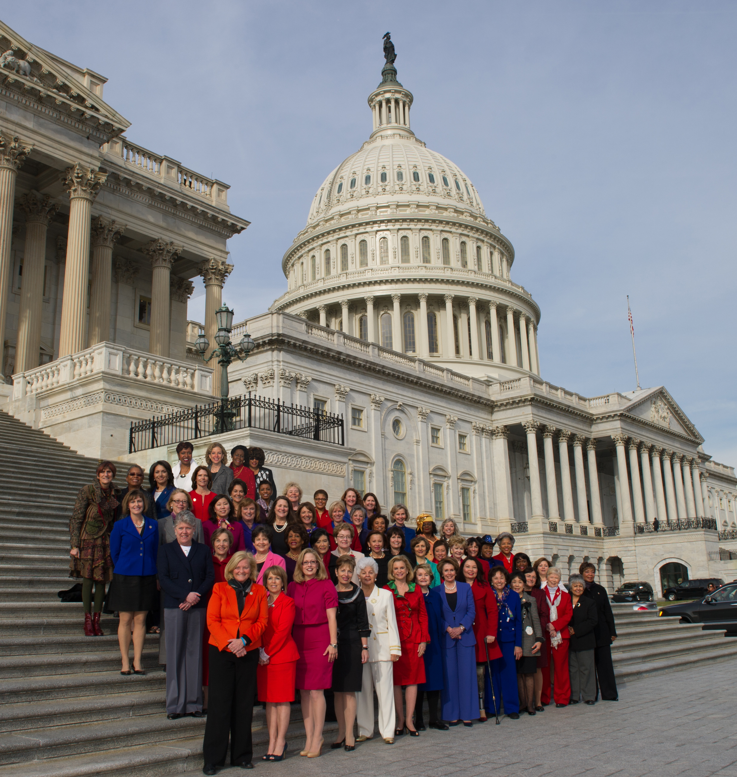 """The office of <a href=""""http://www.huffingtonpost.com/2013/01/04/nancy-pelosi-defends-alte_n_2410063.html"""" target=""""_blank"""">Nancy Pelosi</a> (D-Calif.) photoshopped several female members into a photograph in order to include all of the women in the House Democratic Caucus."""