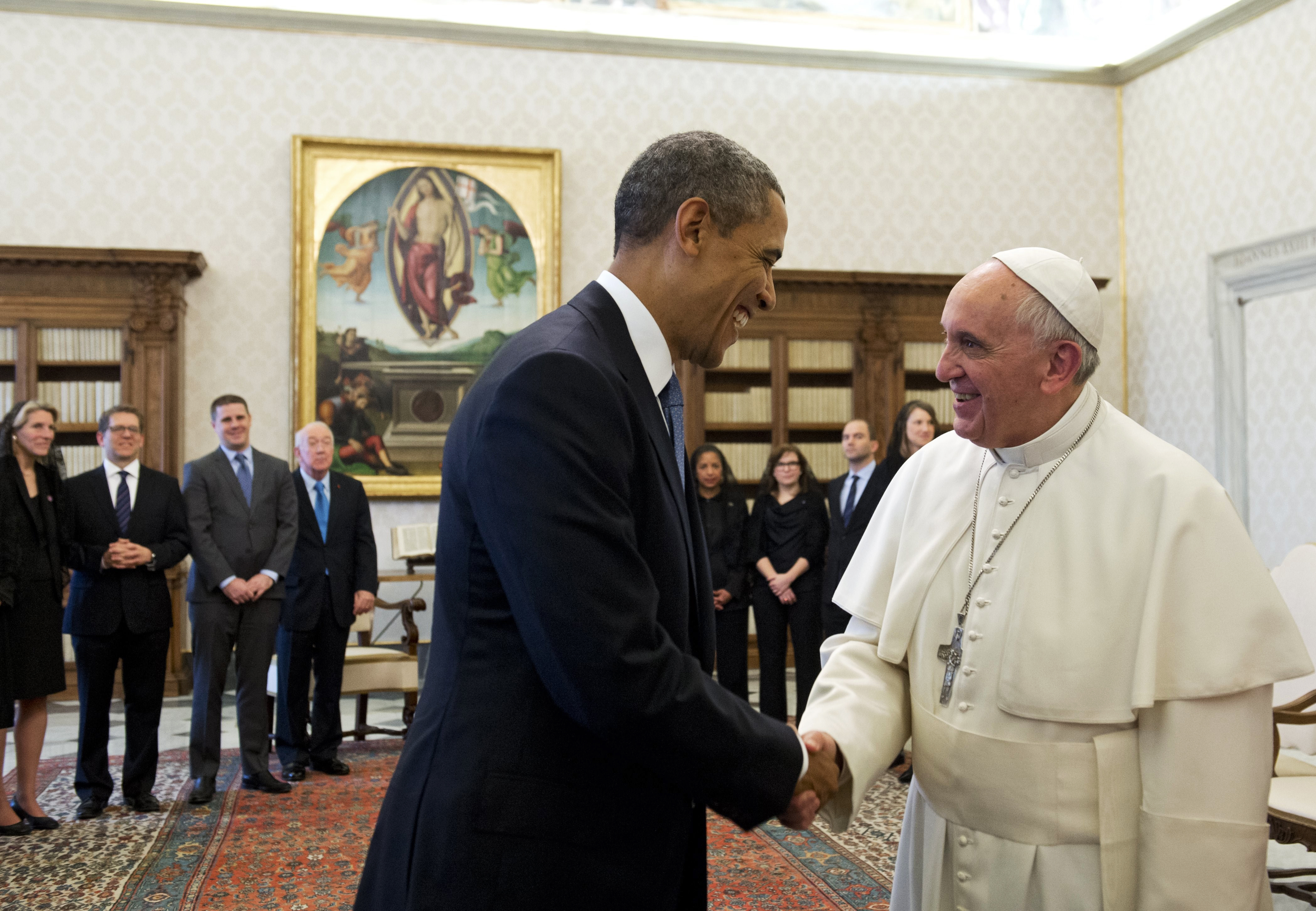 Pope Francis and President Barack Obama shake hands during a private audience on March 27, 2014 at the Vatican.
