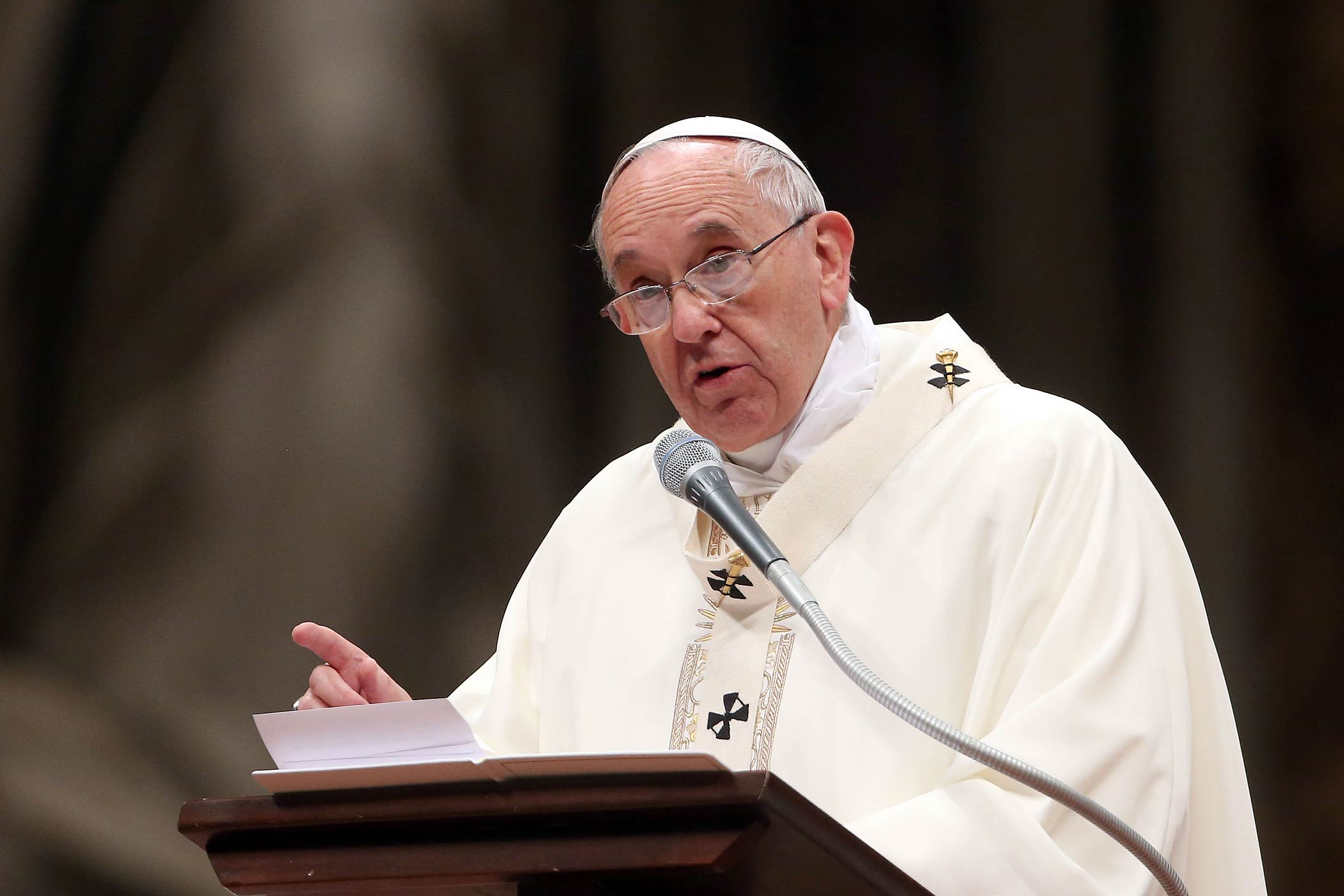 Pope Francis speaks during a Mass at St. Peter's Basilica on Feb. 2, 2015 in Vatican City.