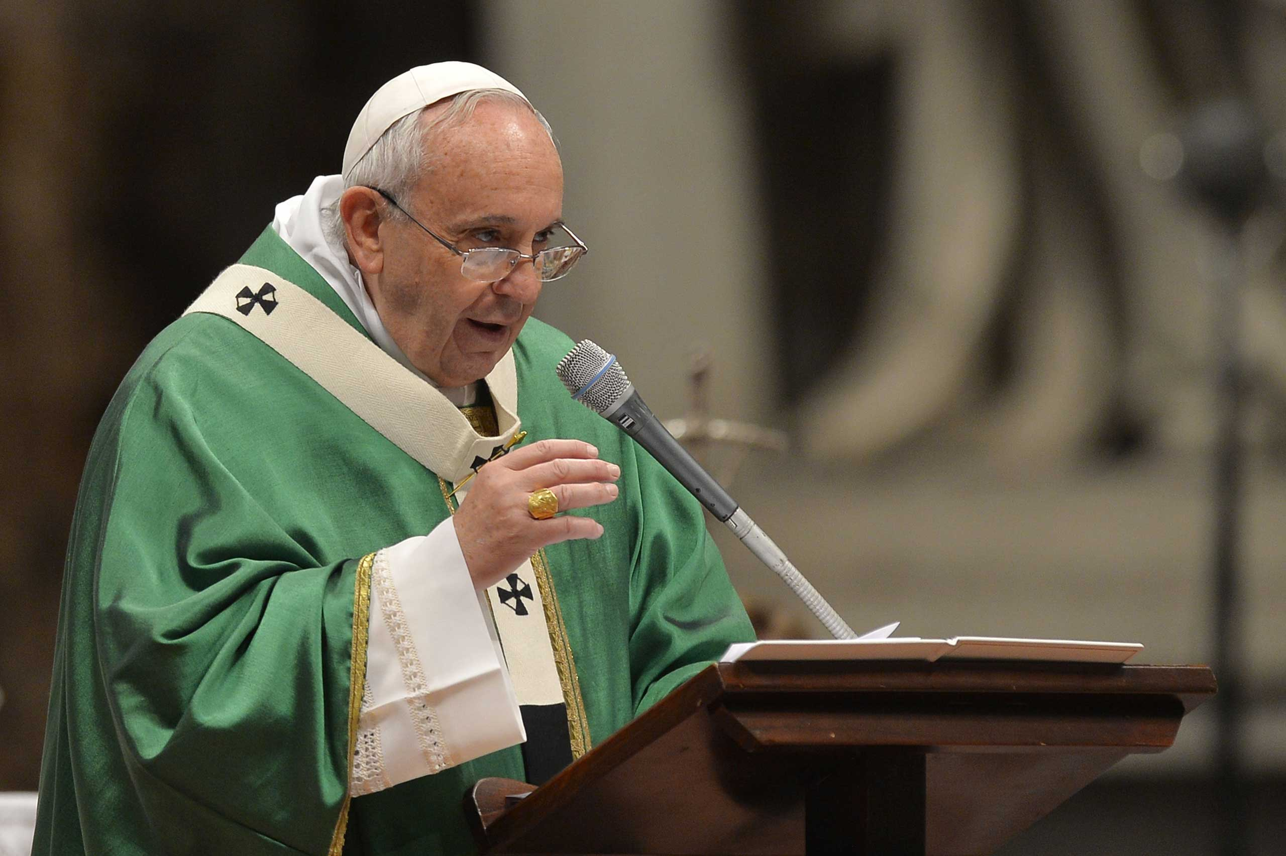 Pope Francis leads a mass on February 15, 2015 at St. Peter's basilica in Vatican.