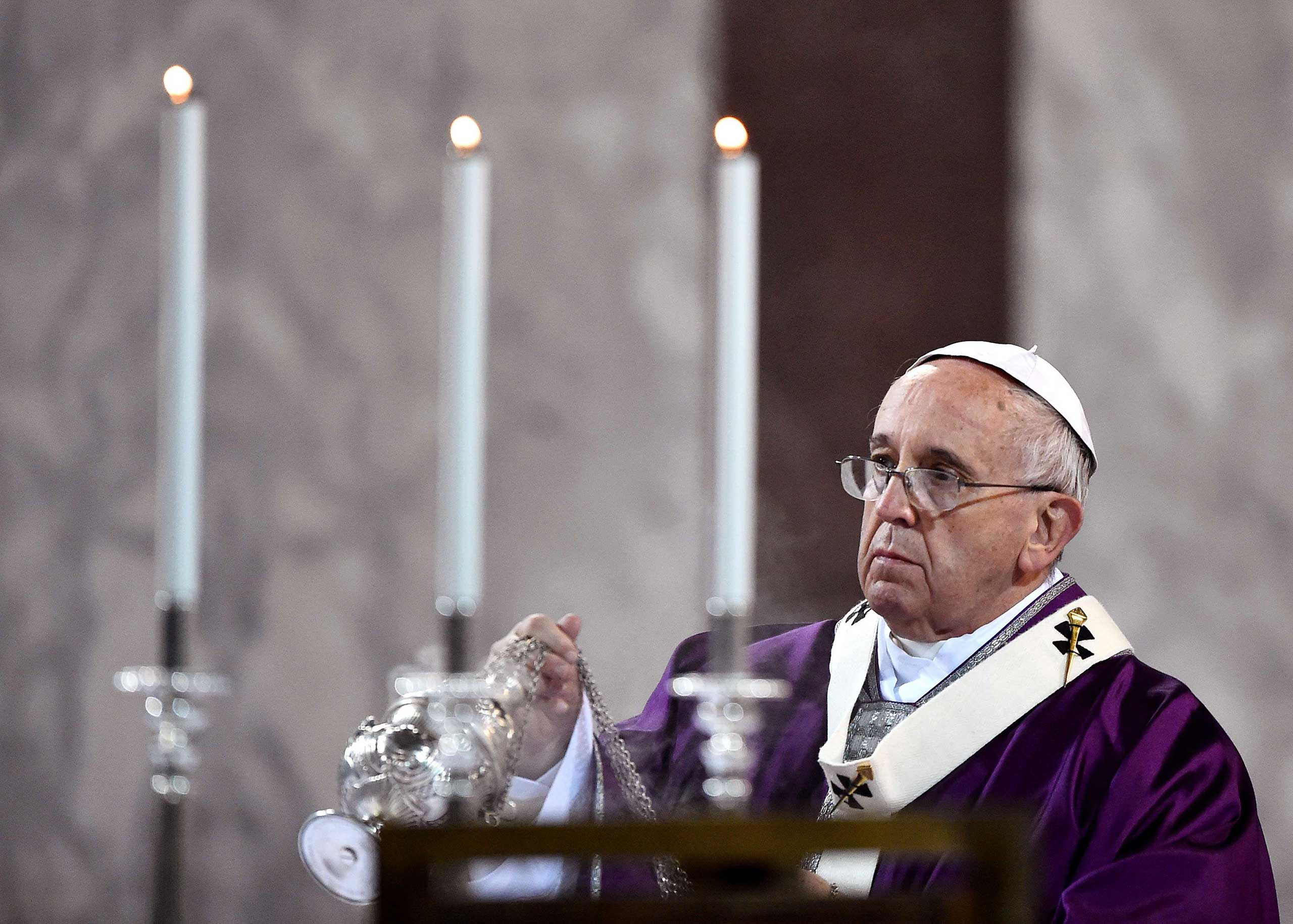 Pope Francis leads the Ash Wednesday mass on Feb. 18, 2015 in Rome.