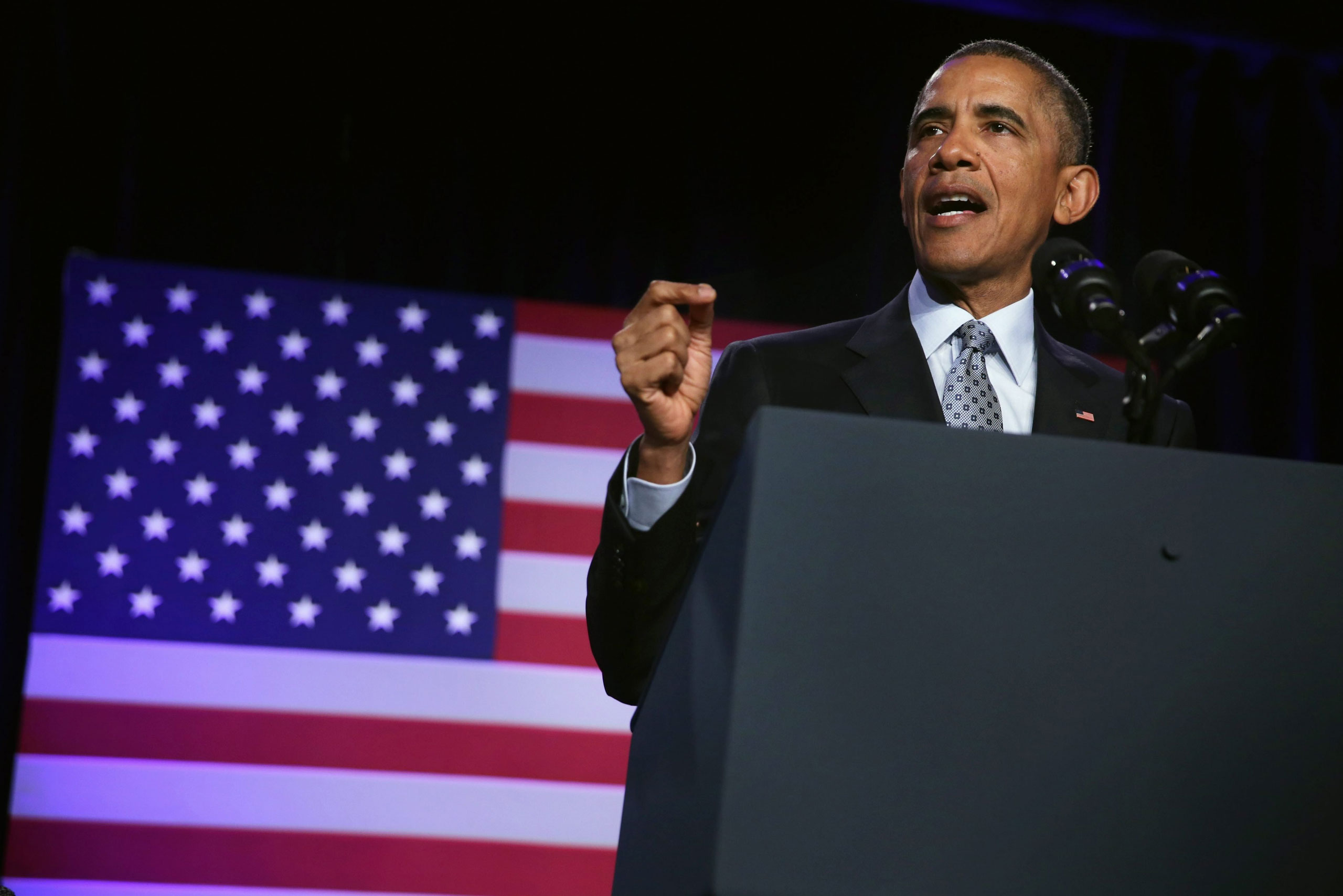 US President Barack Obama speaks during the General Session of the 2015 DNC Winter Meeting in Washington, D.C., on Feb. 20, 2015.