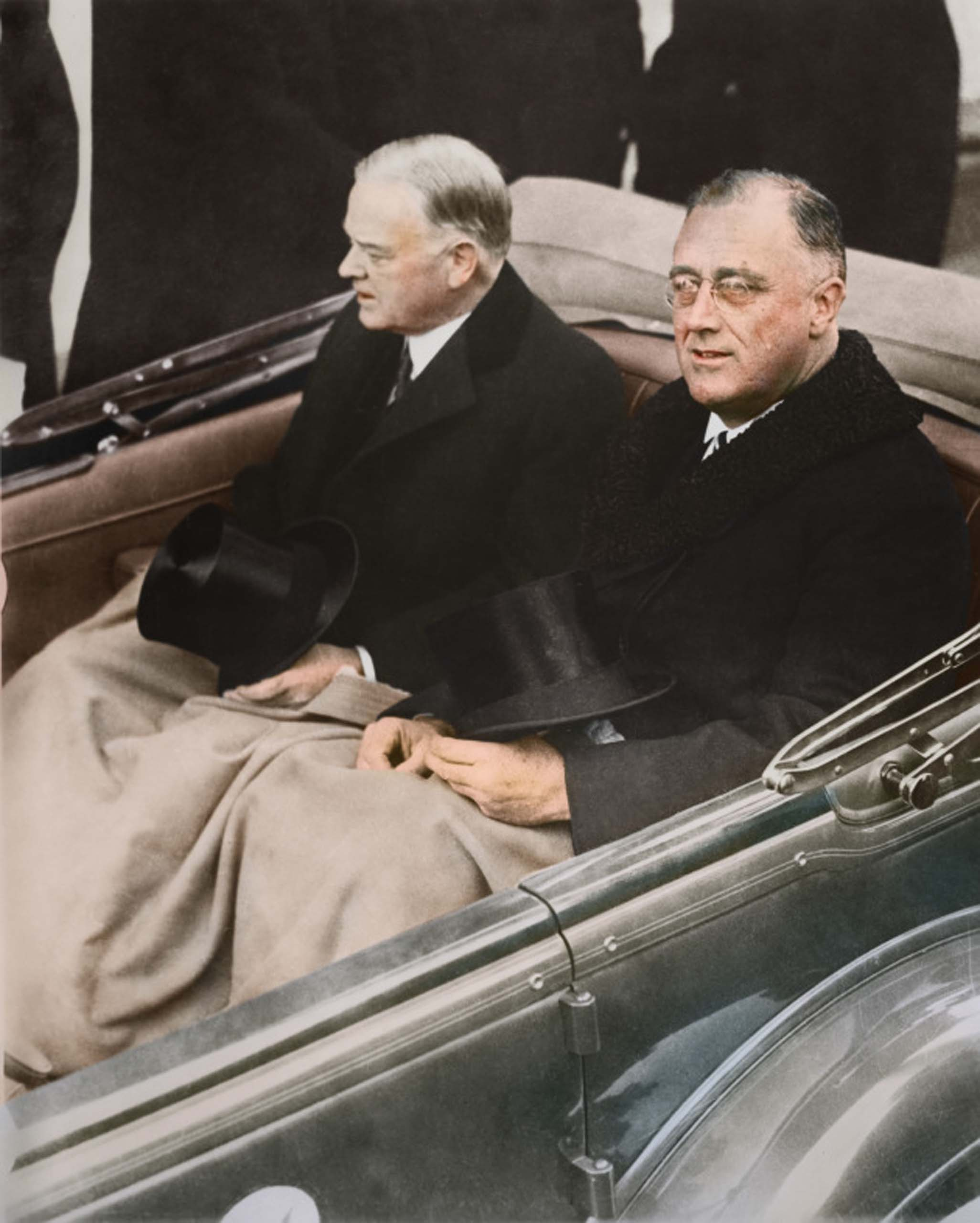 March 4, 1933. Franklin Delano Roosevelt and Herbert Hoover in a convertible automobile on their way to the U.S. Capitol for Roosevelt's inauguration.                                   <i>FDR was ranked #1 on SRI's Survey of U.S. Presidents, holding the top spot in categories like 'Handling of the U.S. Economy,' 'Foreign Policy Accomplishments' and 'Party Leadership.'</i>