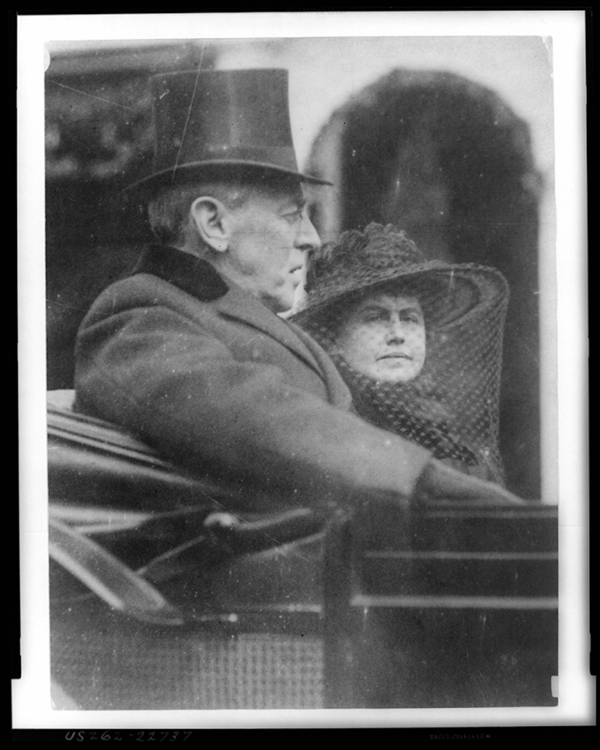 March 5, 1917. Woodrow Wilson and his wife Edith Bolling Wilson riding in the backseat of a carriage on their way to his second inauguration.