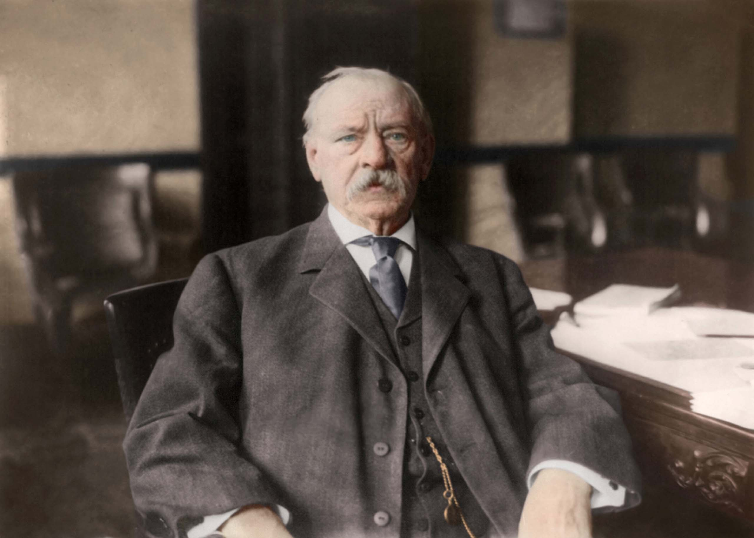 c. 1908. Grover Cleveland, half-length portrait, seated at desk.                                   <i>Ranked #20 in SRI Survey of U.S. Presidents.</i>