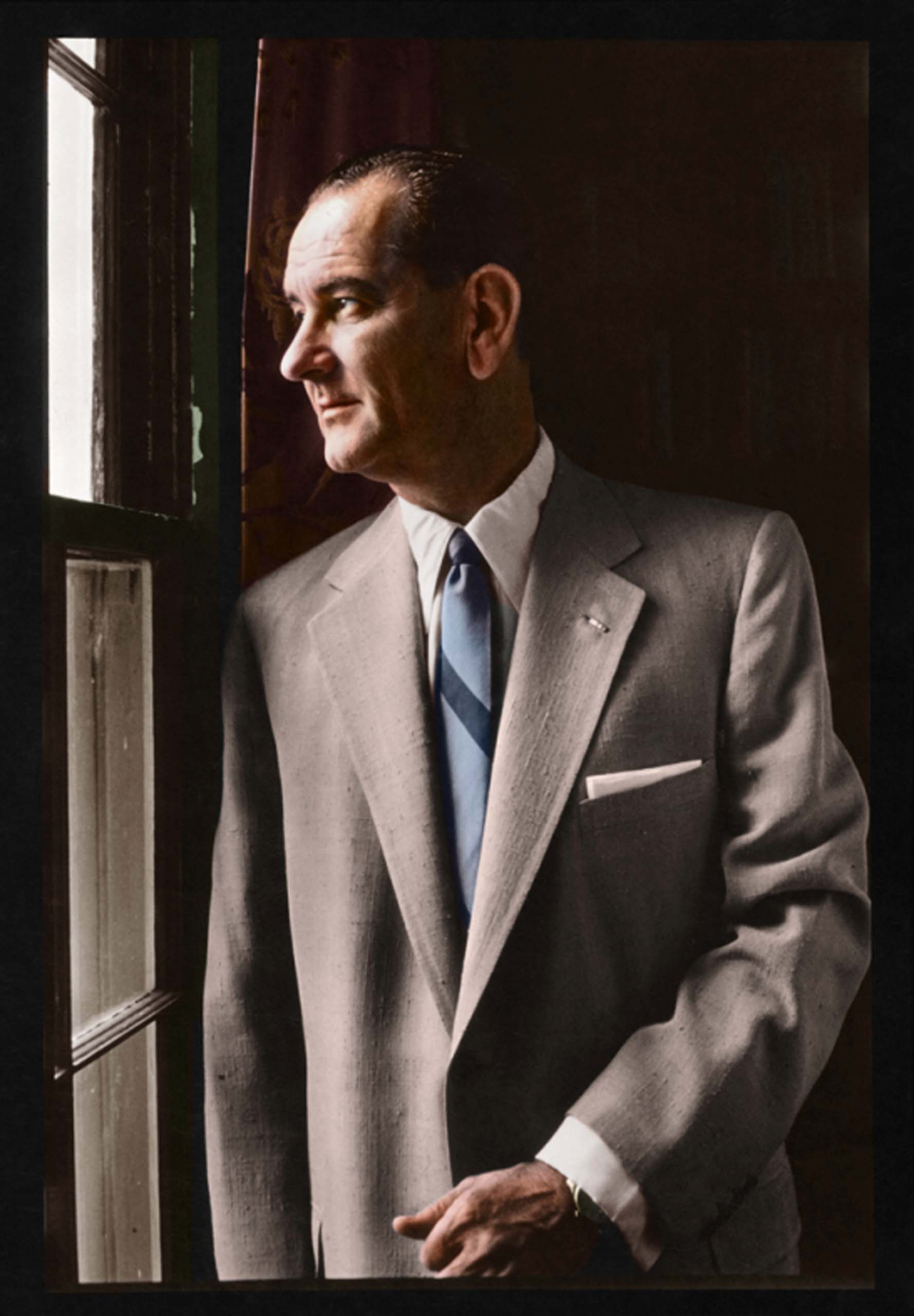 September, 1955. Lyndon B. Johnson, half length portrait, left profile, looking out a window.                                   <i>Ranked #16 in SRI Survey of U.S. Presidents, Johnson is rated #1 for his 'Relationship with Congress' but falls in last place for his 'Foreign Policy Accomplishments.'</i>