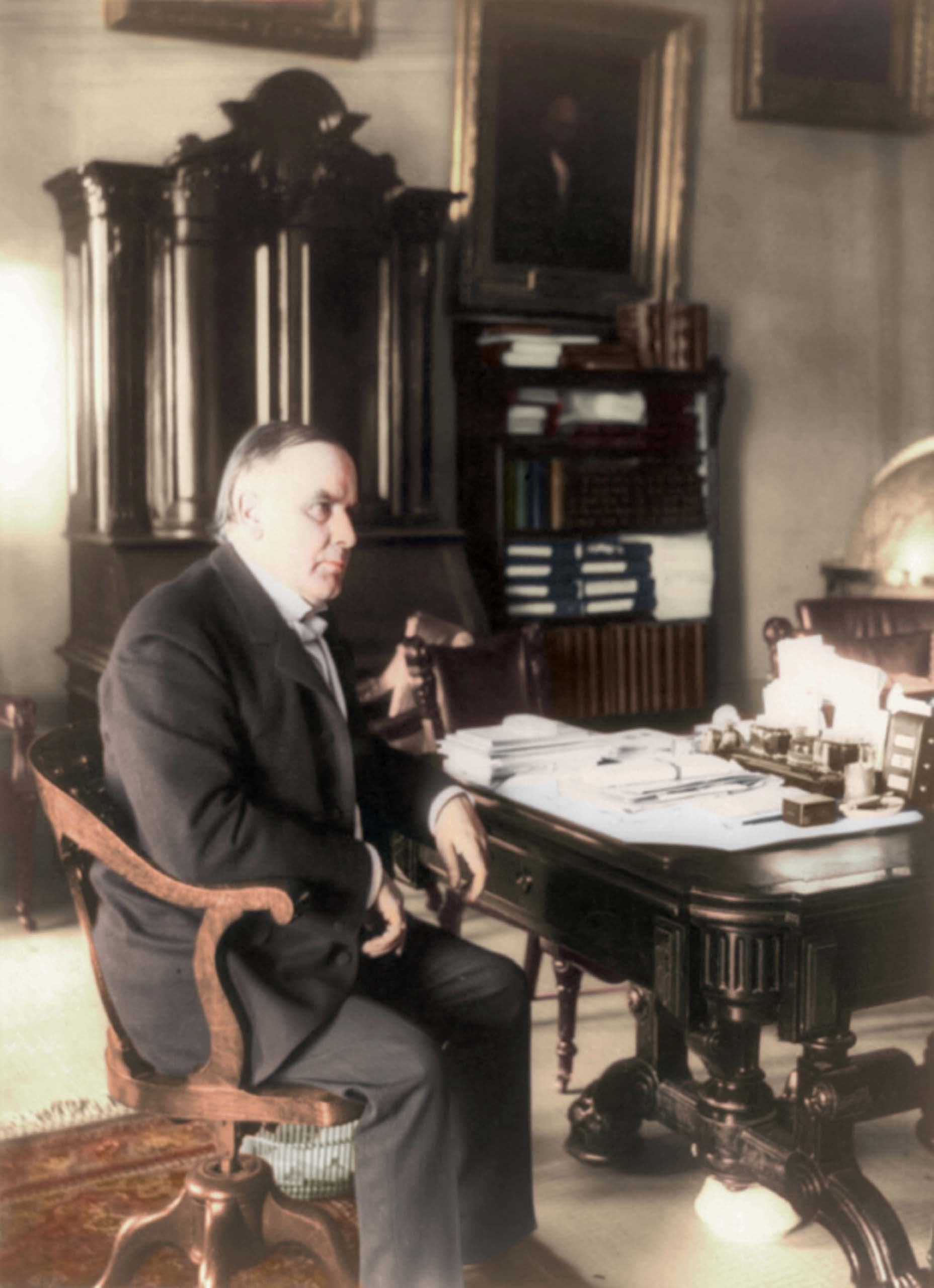 c. June 7, 1898. William McKinley, full length portrait, seated at desk, facing right.                                   <i>Ranked #21 in SRI survey of U.S. Presidents.</i>