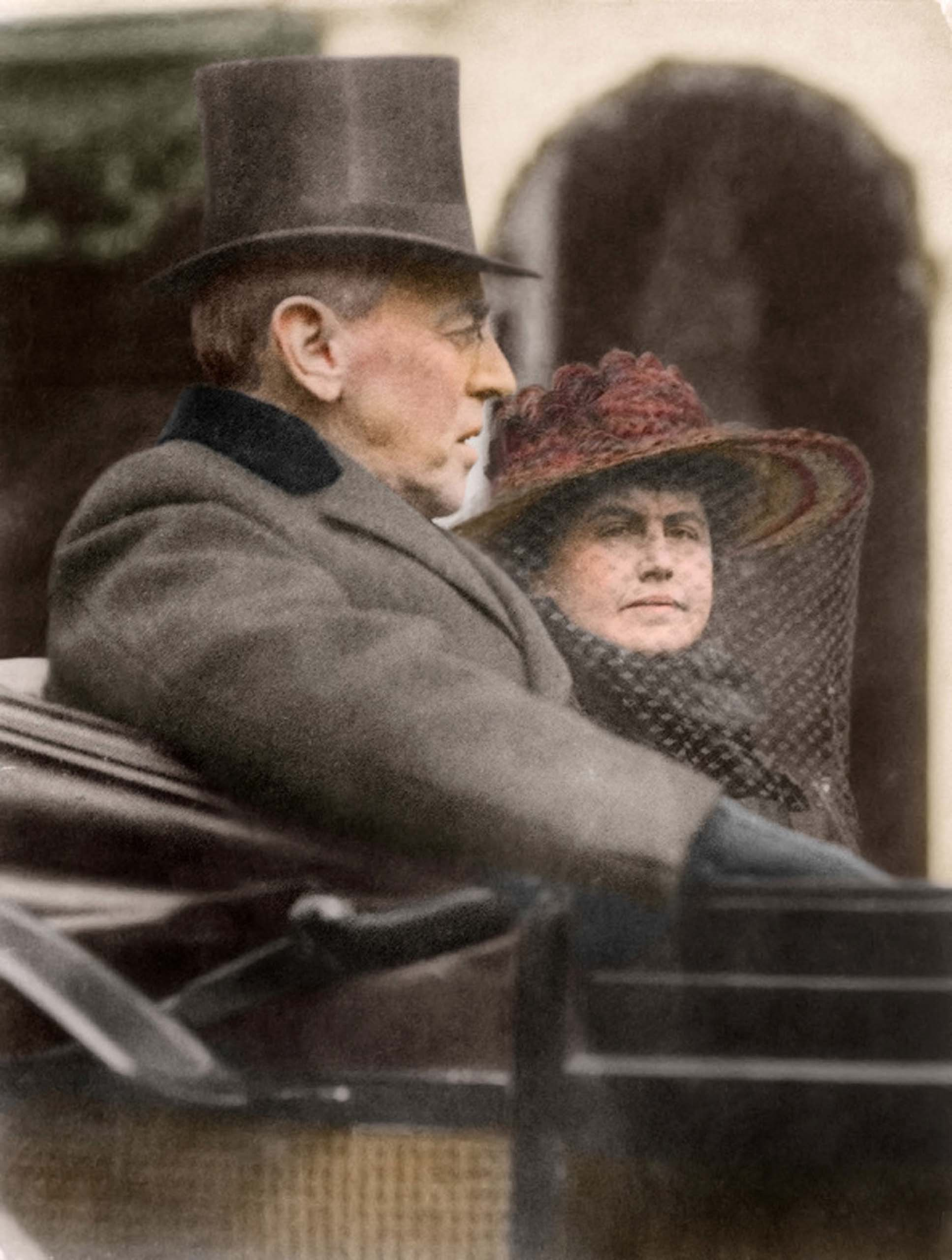 March 5, 1917. Woodrow Wilson and his wife Edith Bolling Wilson riding in the backseat of a carriage on their way to his second inauguration.                                    <i>Ranked #8 in SRI survey of U.S. Presidents.</i>