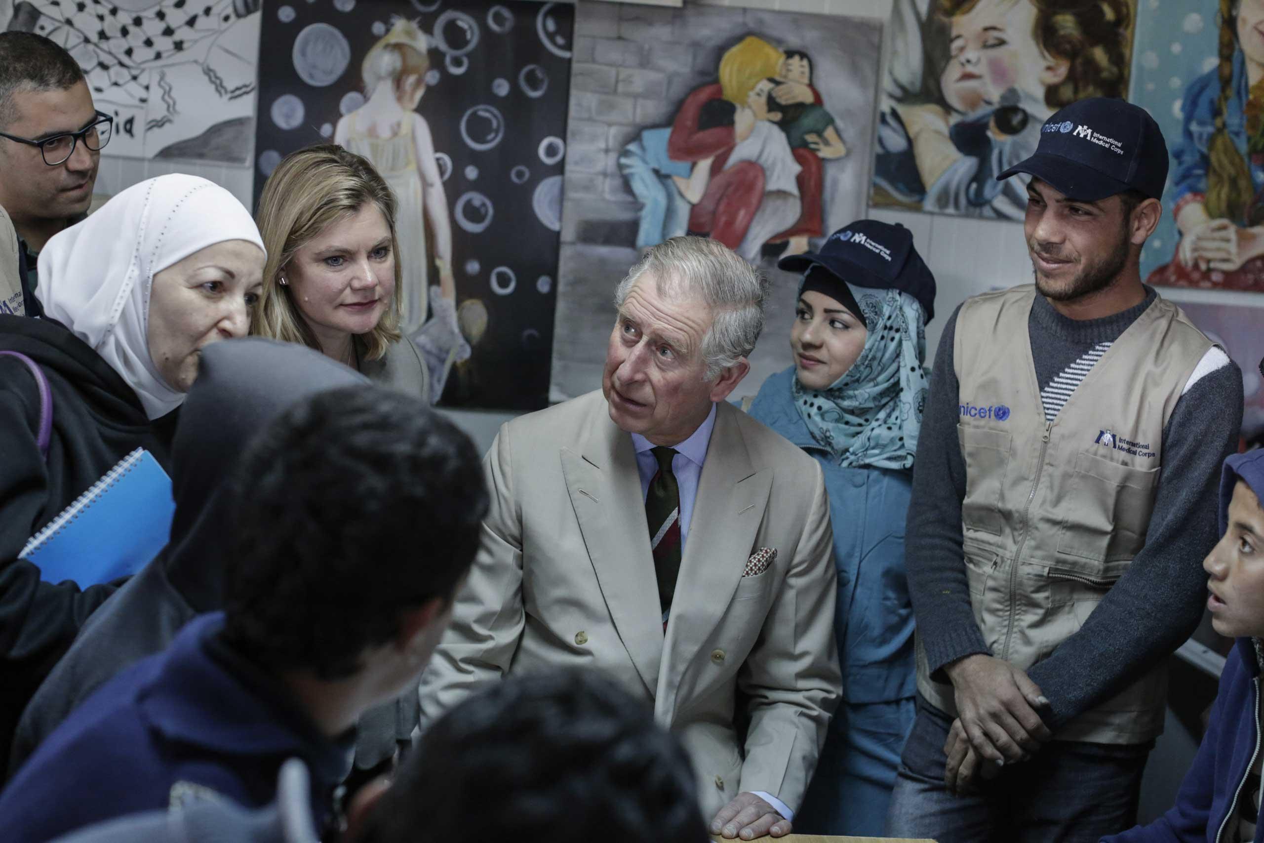 Prince Charles visits Zaatari refugee camp in Jordan, Feb. 8, 2015.