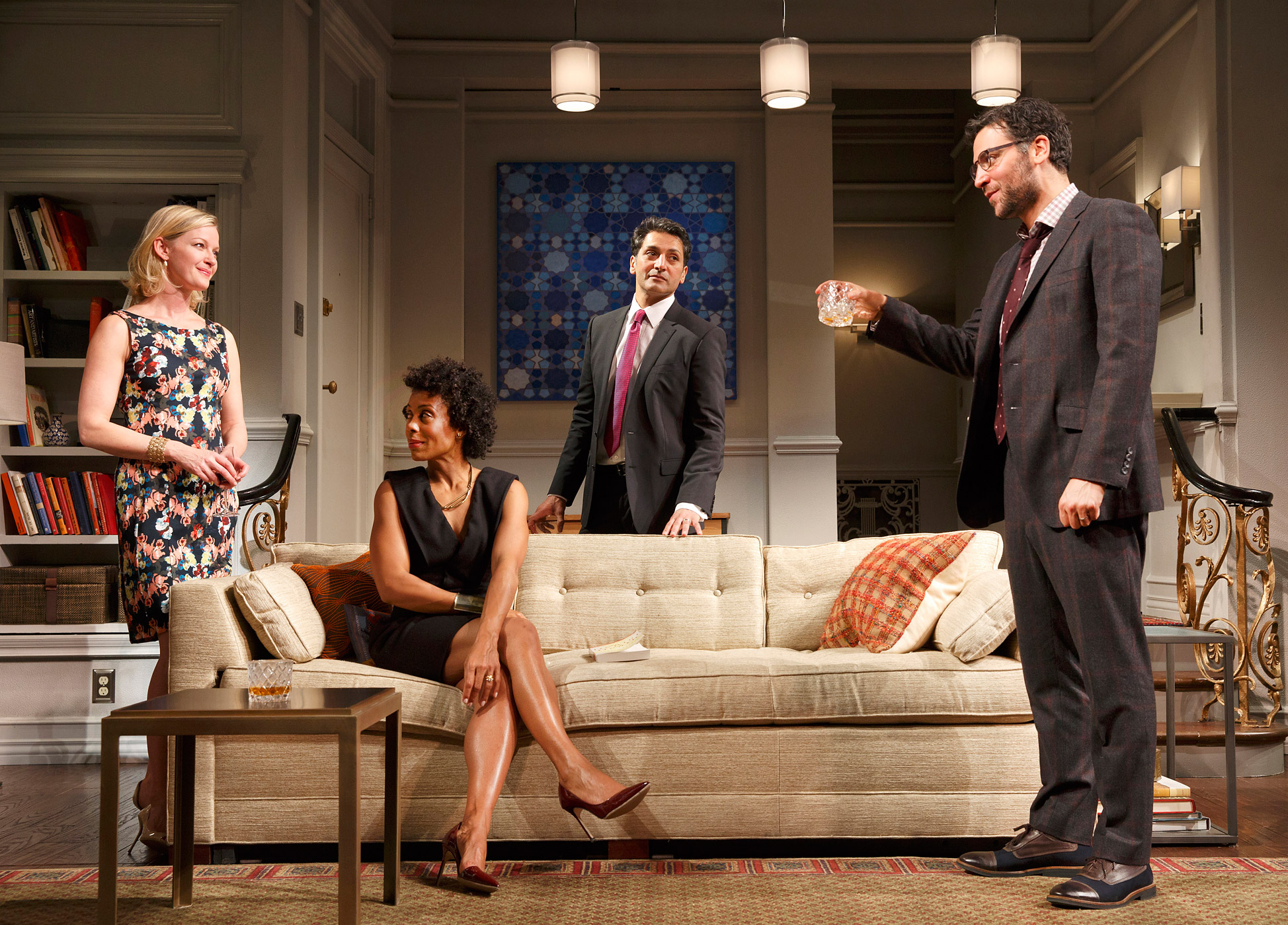 From left: Gretchen Mol, Karen Pittman, Hari Dhillon and Josh Radnor in a scene from Disgraced.