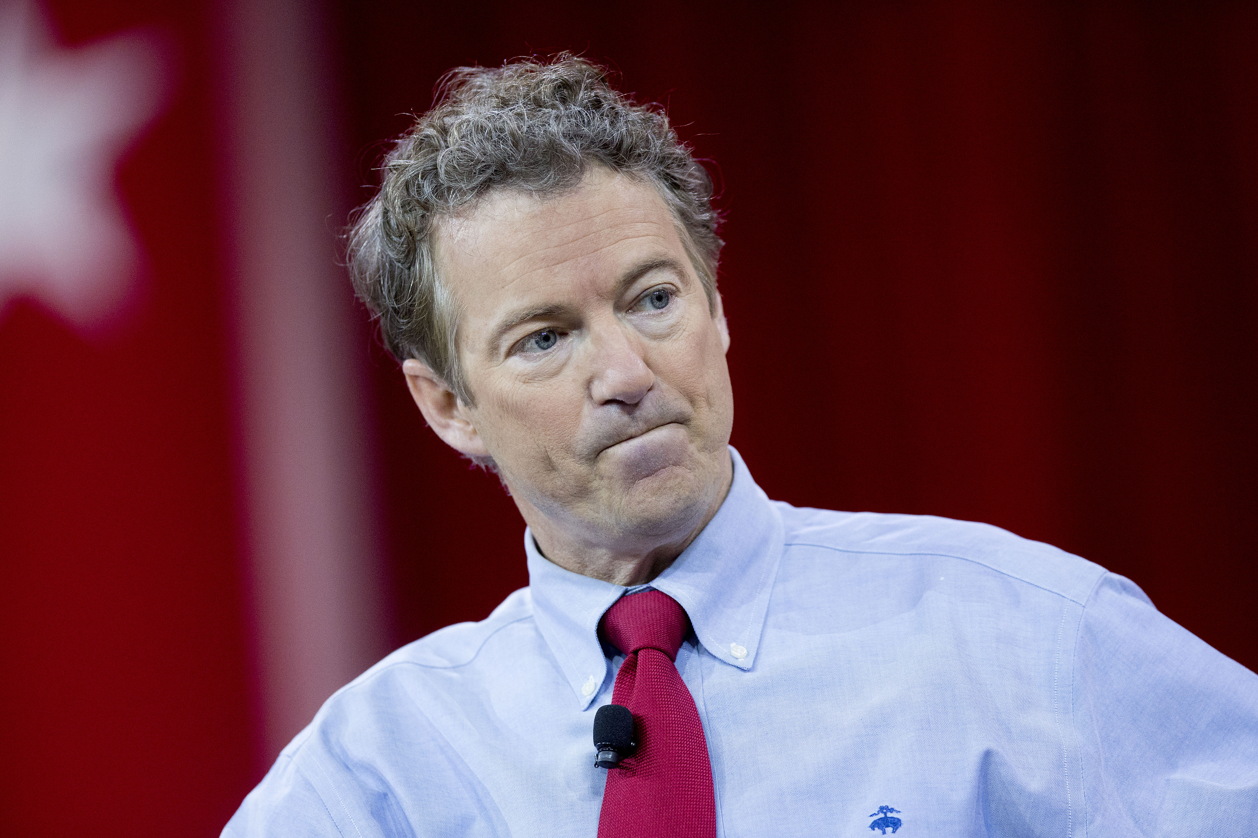 Senator Rand Paul, a Republican from Kentucky, listens to a question during an interview at the Conservative Political Action Conference (CPAC) in National Harbor, Maryland, Feb. 27, 2015.