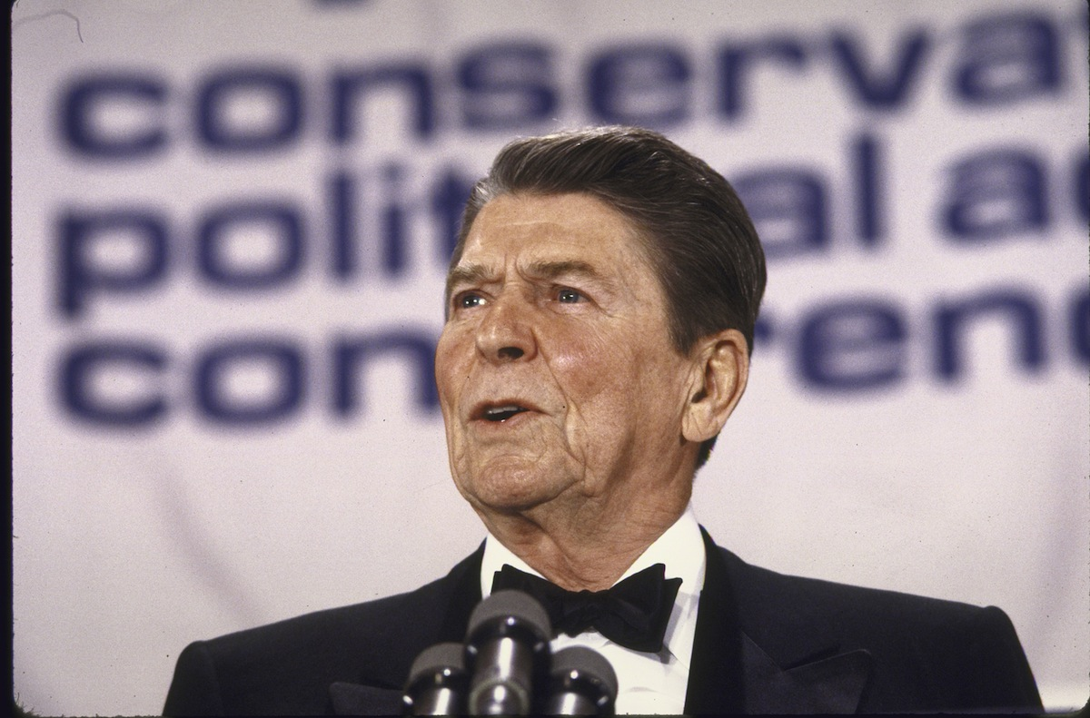 President Ronald Reagan speaking at CPAC conference in 1986