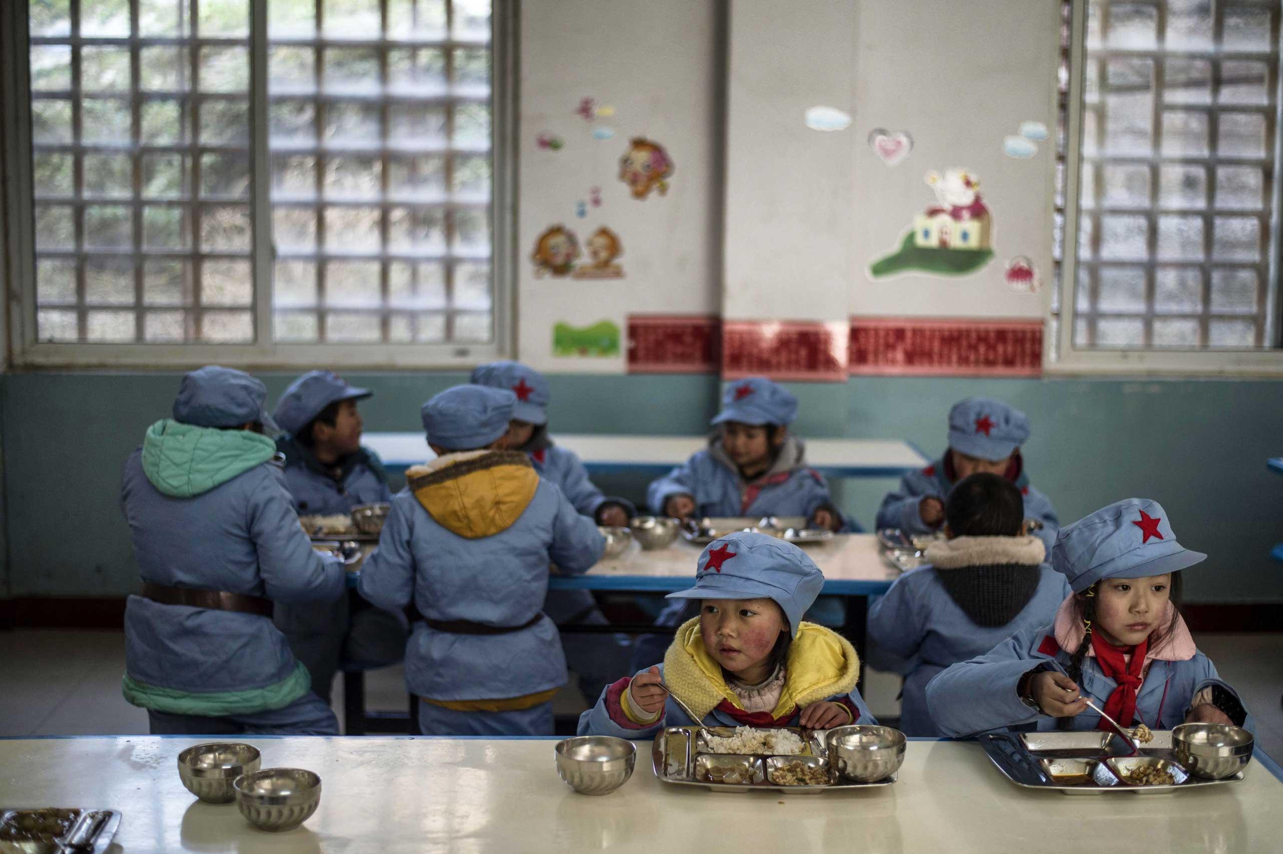 Children during lunch.