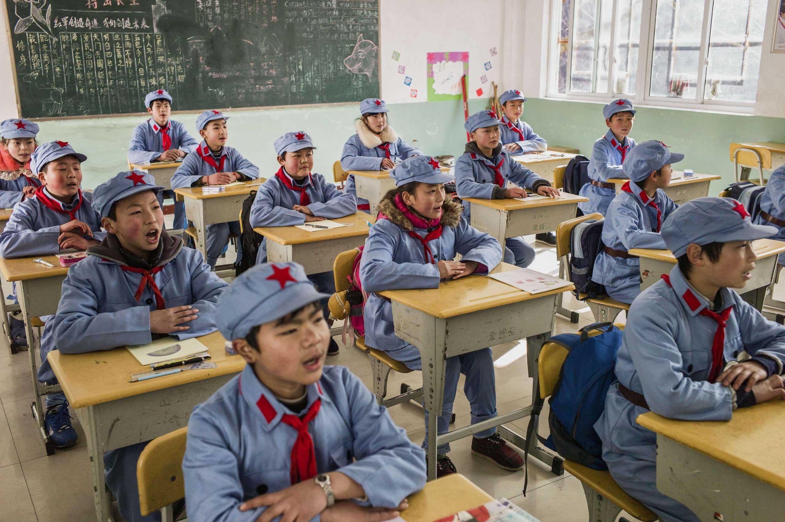 Children during class.
