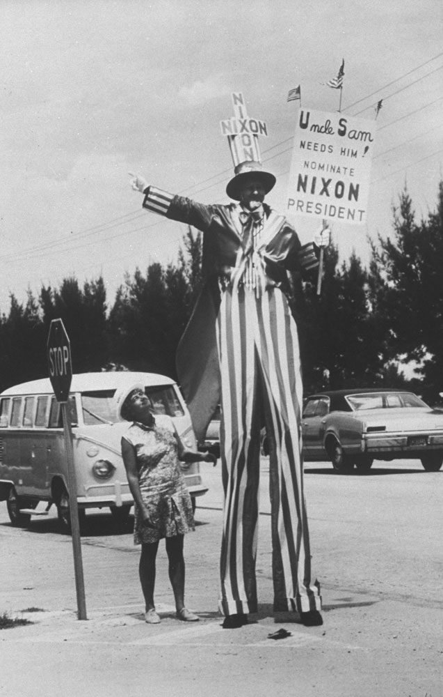 Scene at the 1968 Republican National Convention, Miami Beach, Florida.
