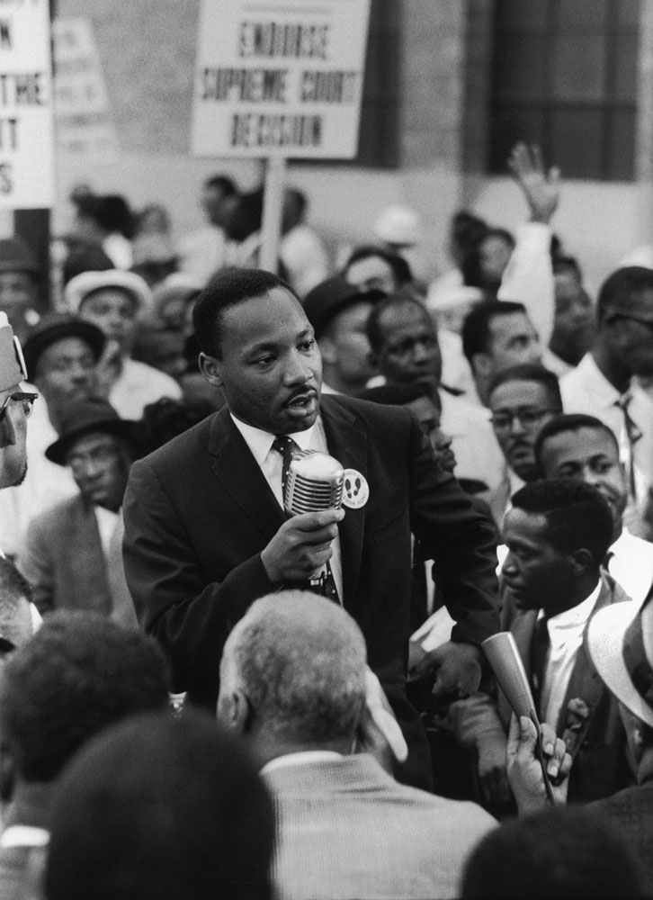 <b>Not originally published in LIFE.</b> Rev. Martin Luther King, Jr. (center) During the 1960 Republican National Convention in Chicago, Martin Luther King Jr. leads a demonstration calling for a strong Civil Rights plank in the GOP campaign platform.leading Negro demonstration for strong Civil Rights plank in COP campaign platform