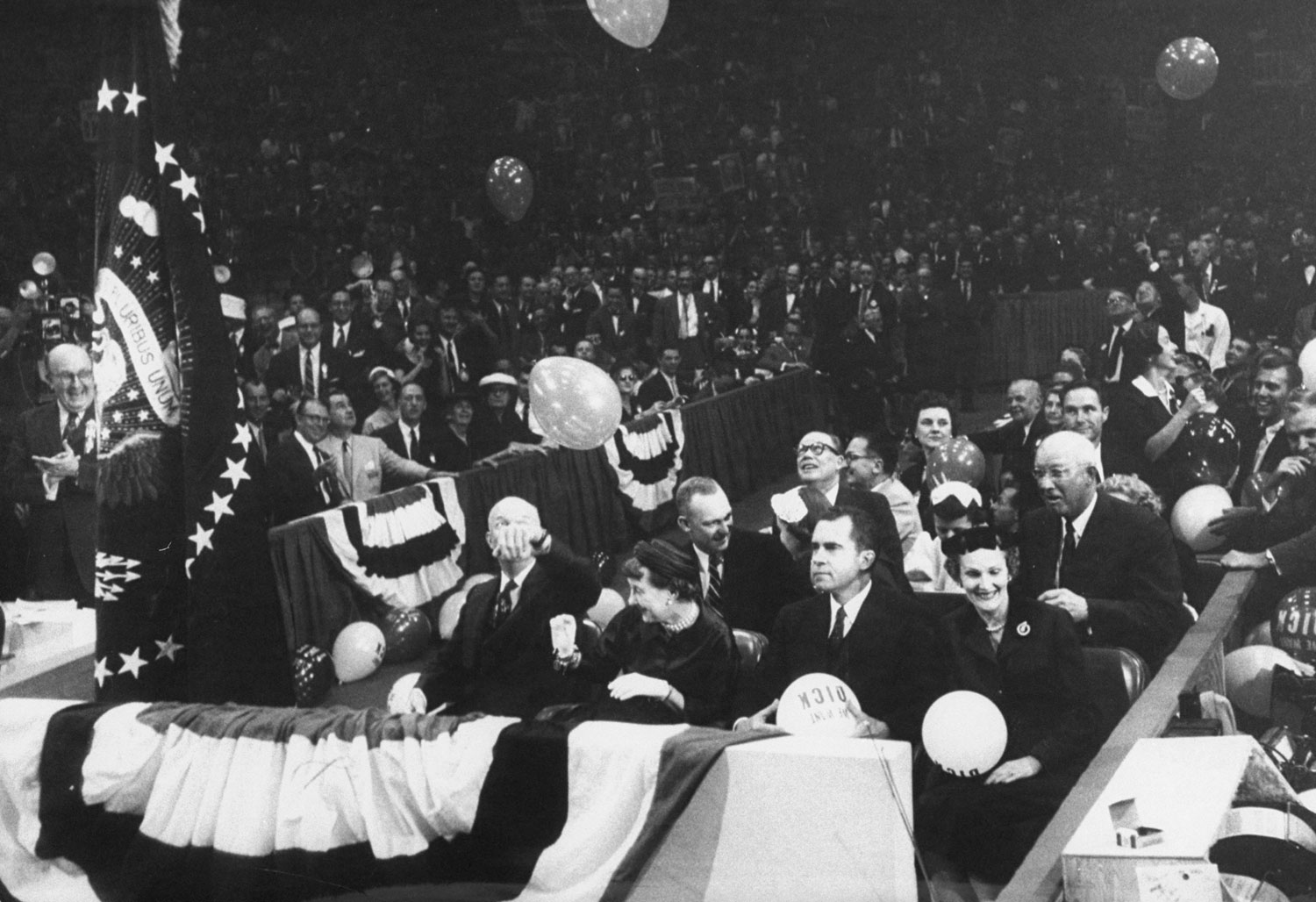 Left to right: President Dwight D. Eisenhower, his wife Mamie, Richard M. Nixon and his wife, Pat, at the 1956 GOP National Convention, San Francisco, California.