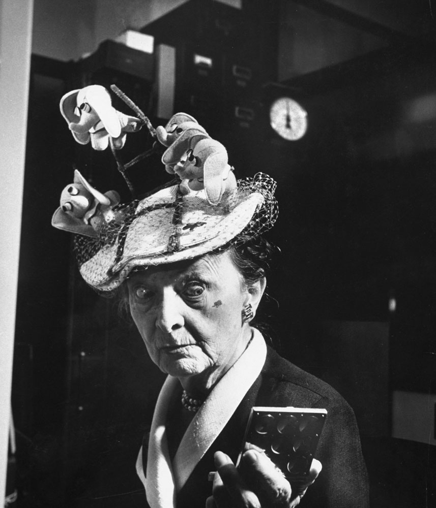 Bertha Baur, a prominent figure at conventions for decades and a long-time member of the Republican National Committee, in an elephant hat at the 1952 GOP National Convention in Chicago.