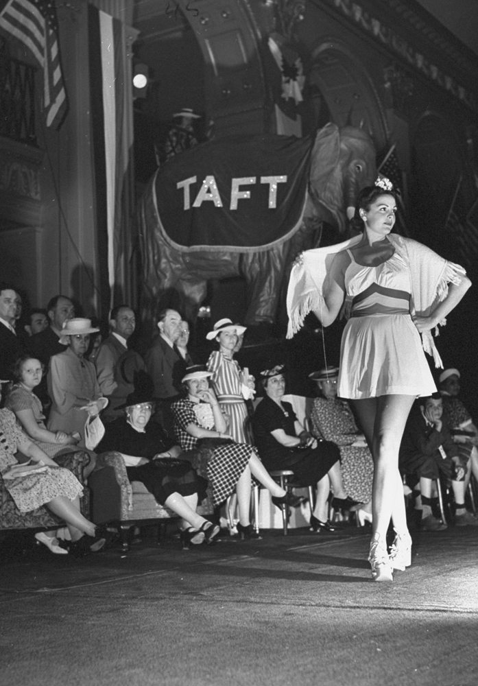 A model wears a bathing suit in a fashion show at Ohio senator Robert Taft's headquarters during the 1940 GOP National Convention in Philadelphia.