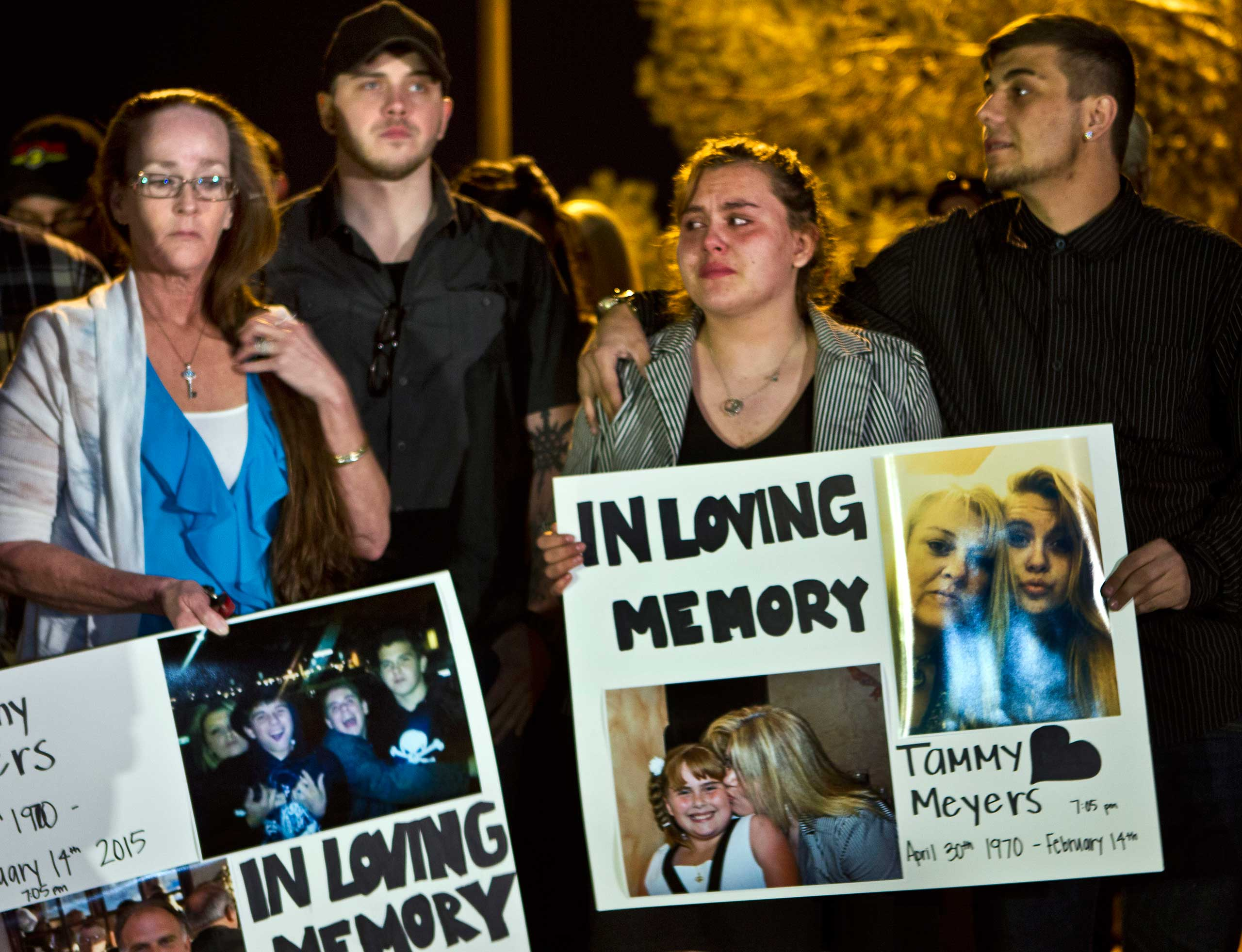 People participate in a candlelight vigil for Tammy Meyers, who was taken off life support on Saturday after a shooting in Las Vegas, Feb. 17, 2015.