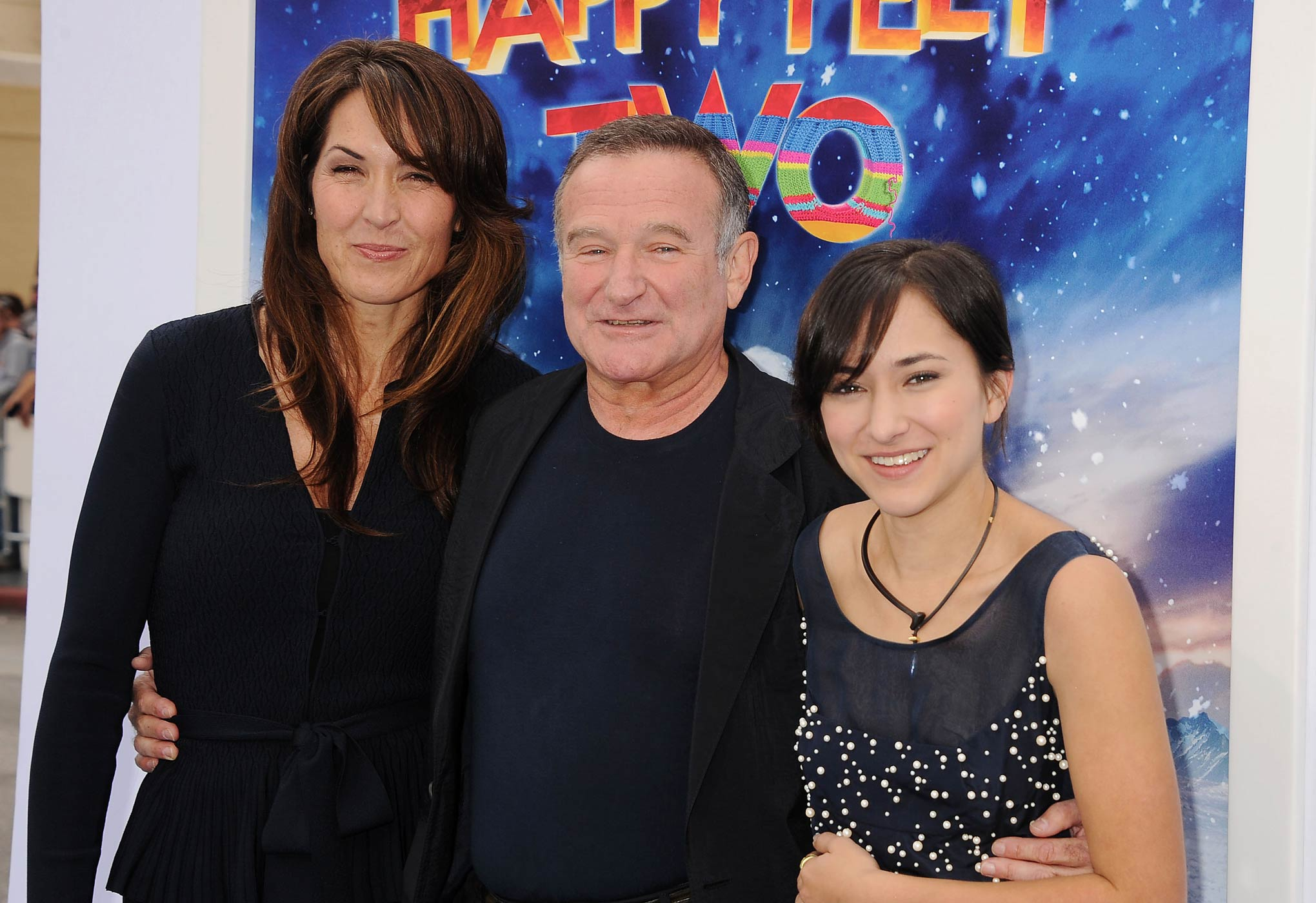 Susan Williams, Robin Williams and Zelda Williams attend the Happy Feet Two Los Angeles Premiere at Grauman's Chinese Theatre on Nov. 13, 2011 in Hollywood, Calif.