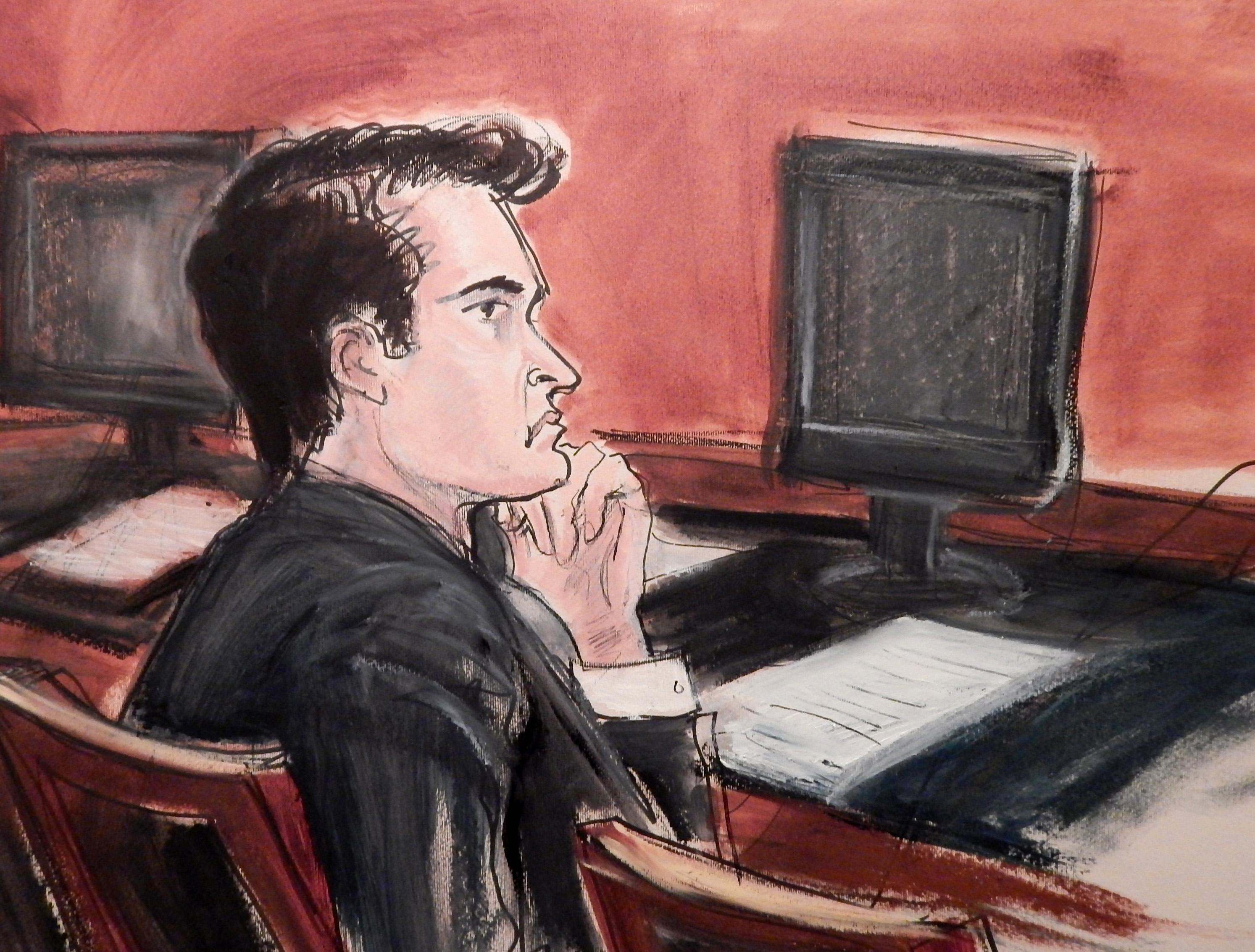 In this courtroom drawing, defendant Ross William Ulbricht listens to proceedings from the defense table during opening arguments in his criminal trial in New York on Jan. 13, 2015.
