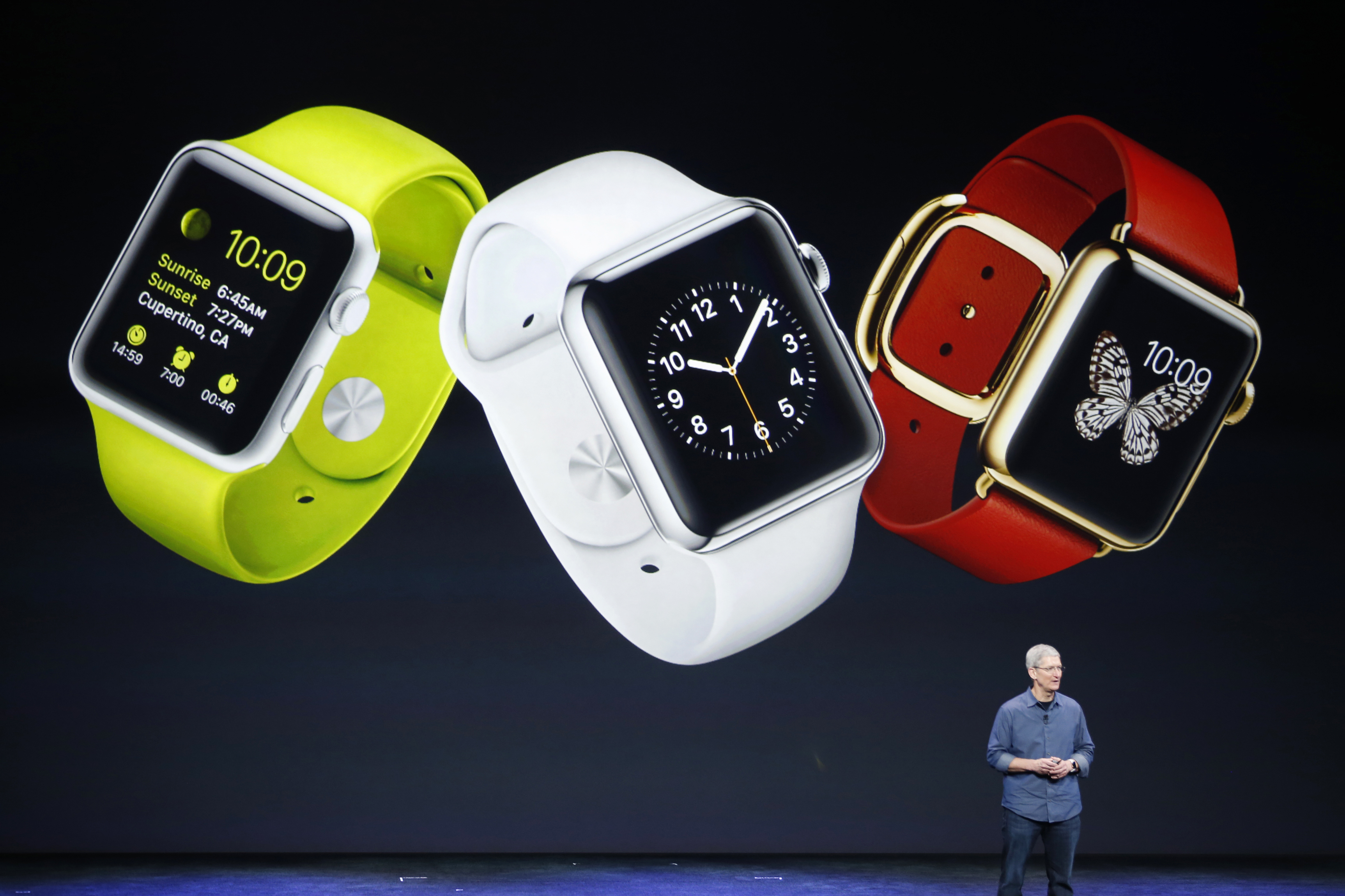 Apple CEO Tim Cook speaks about the Apple Watch in California on Sept. 9, 2014