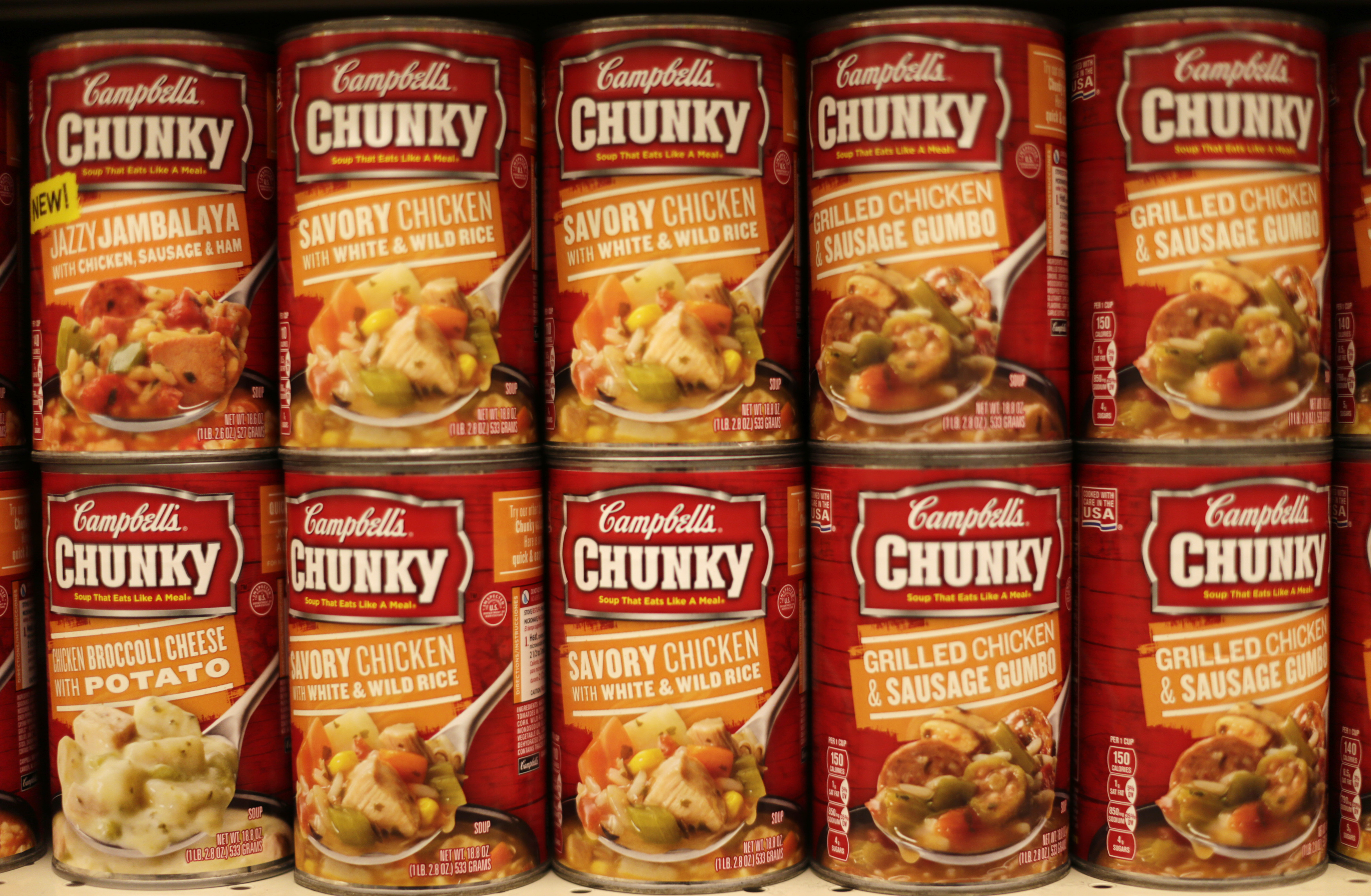 Cans of Campbell's brand Chunky soups are seen at the Safeway store in Wheaton, Maryland Feb. 13, 2015