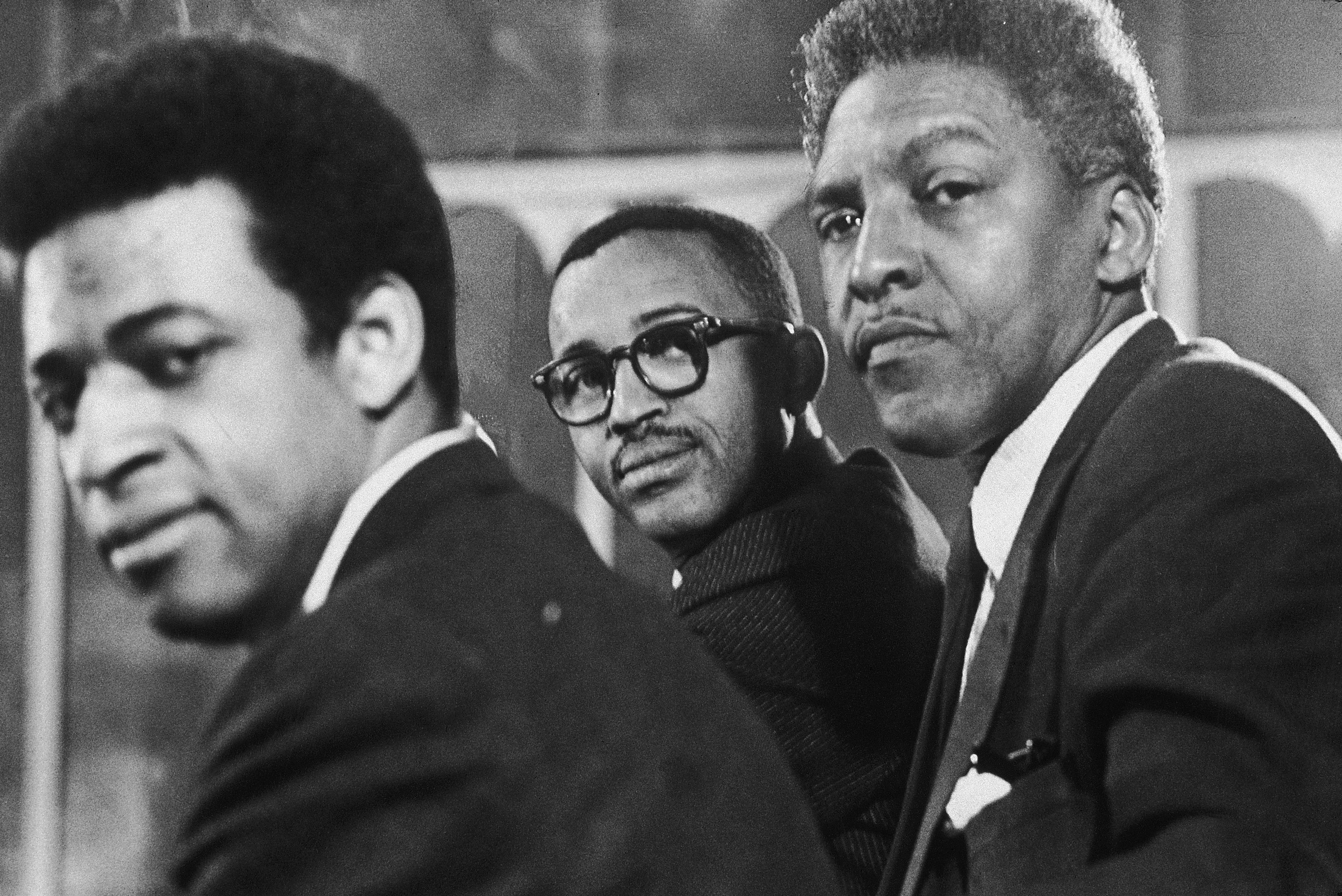 Civil rights activists Norman Hill, Bayard Rustin and Frederick D. Jones, in 1964