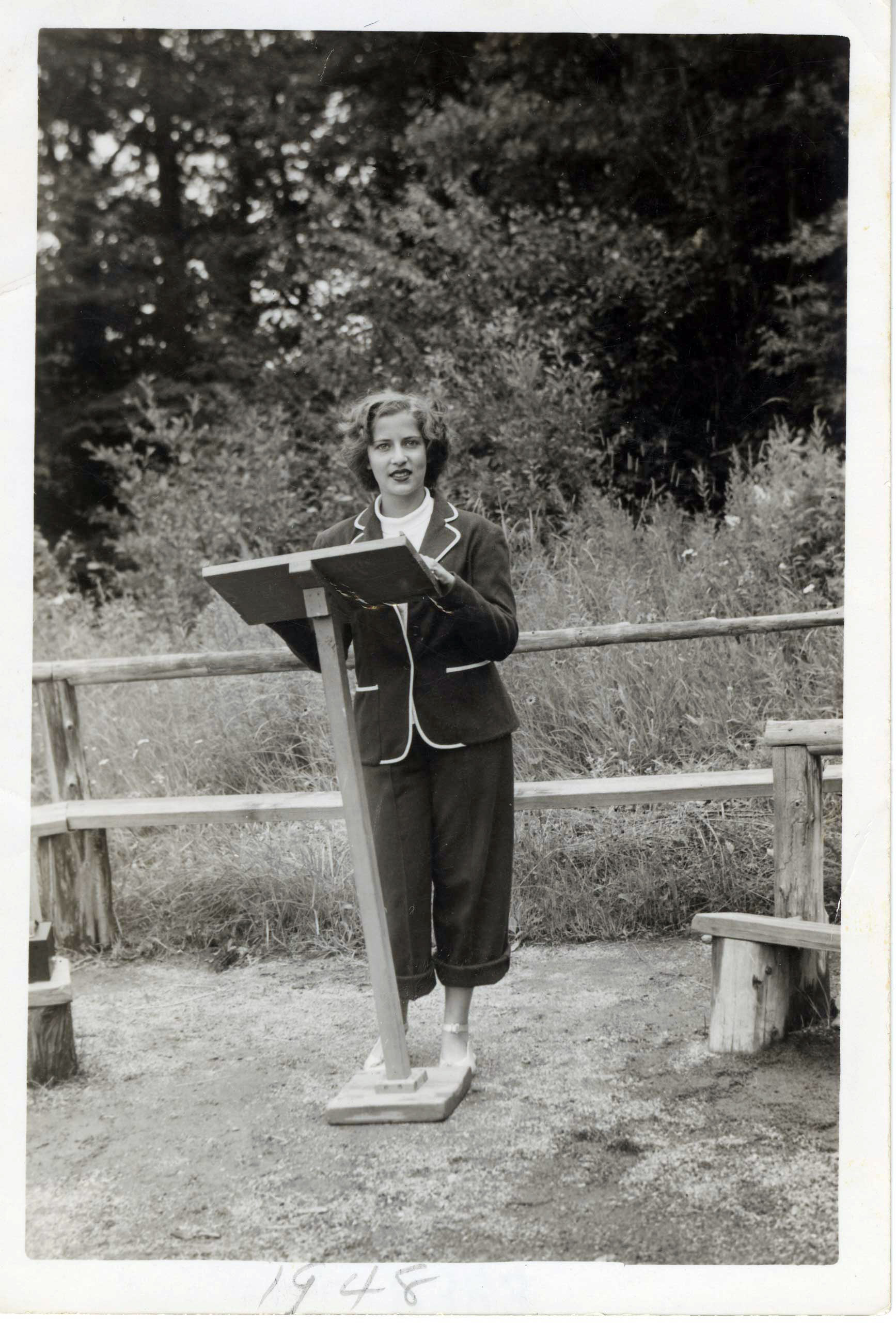 <b>1948</b>                                   Ruth Bader delivers a sermon as camp Rabbi at the age of 15, at Che-Na-Wah camp in Minerva, N.Y.