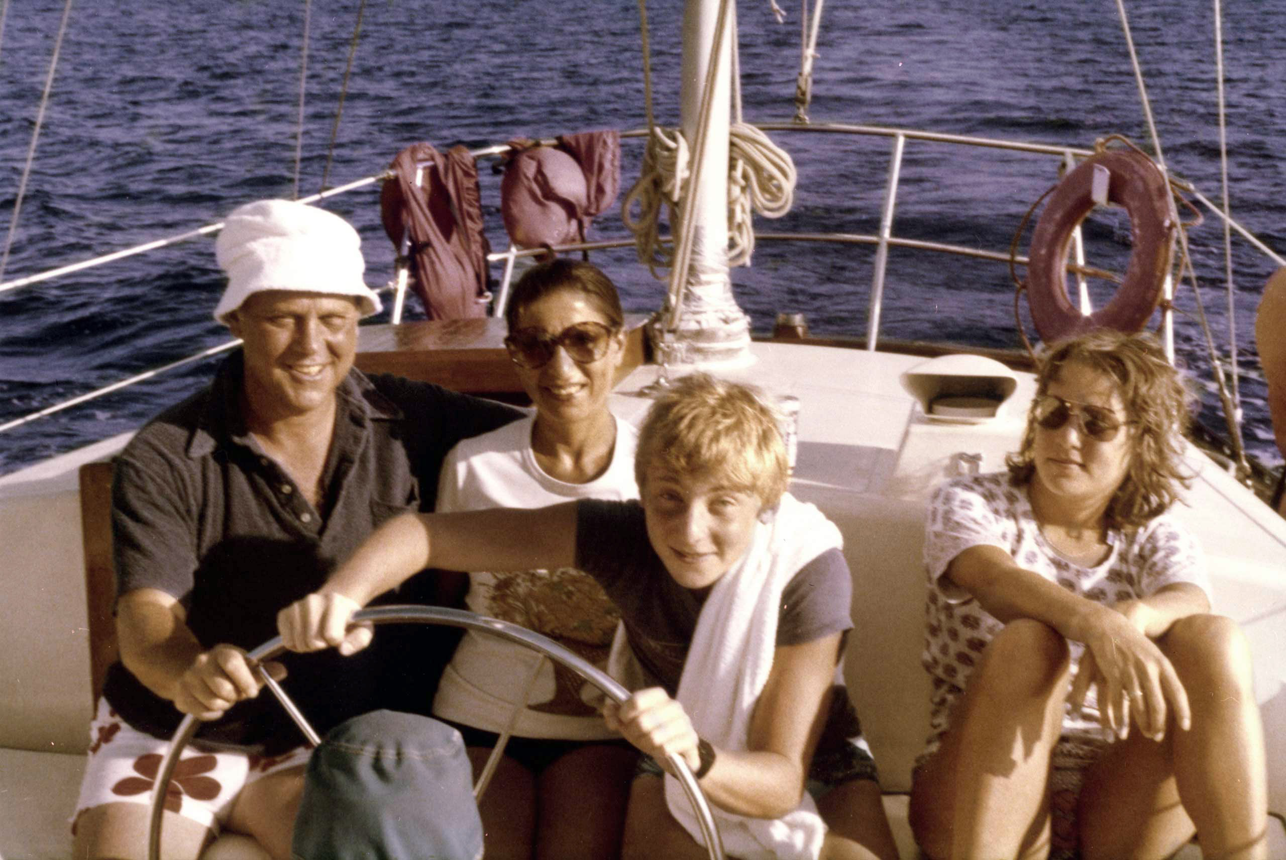 Ruth Bader Ginsburg, her husband, Martin, and their children, James and Jane, in a boat off the shore of St. Thomas in the Virgin Islands, December 1980.