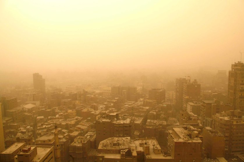 Cairo is seen during a sandstorm, Feb. 11, 2015.